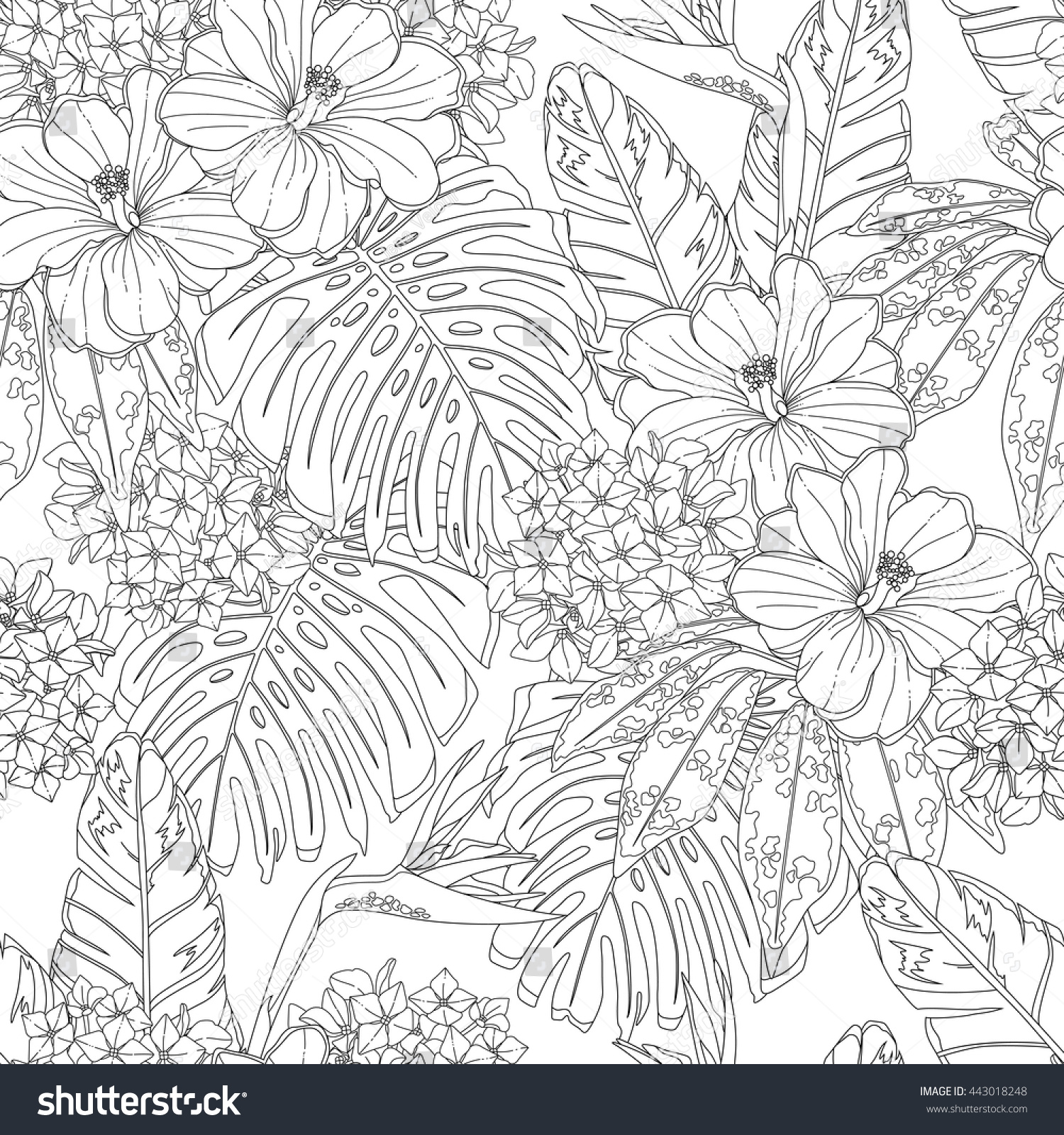 Tropical Flowers Leaves Seamless Pattern Page Stock Vector