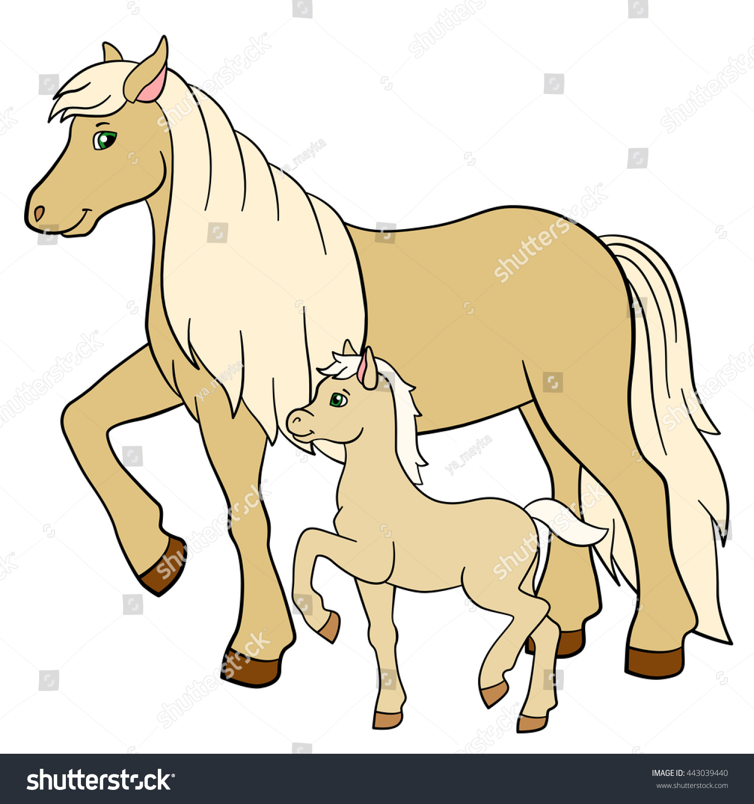 Farm animal horse coloring pages - Coloring Pages Farm Animals Mother Horse With Her Little Cute Foal
