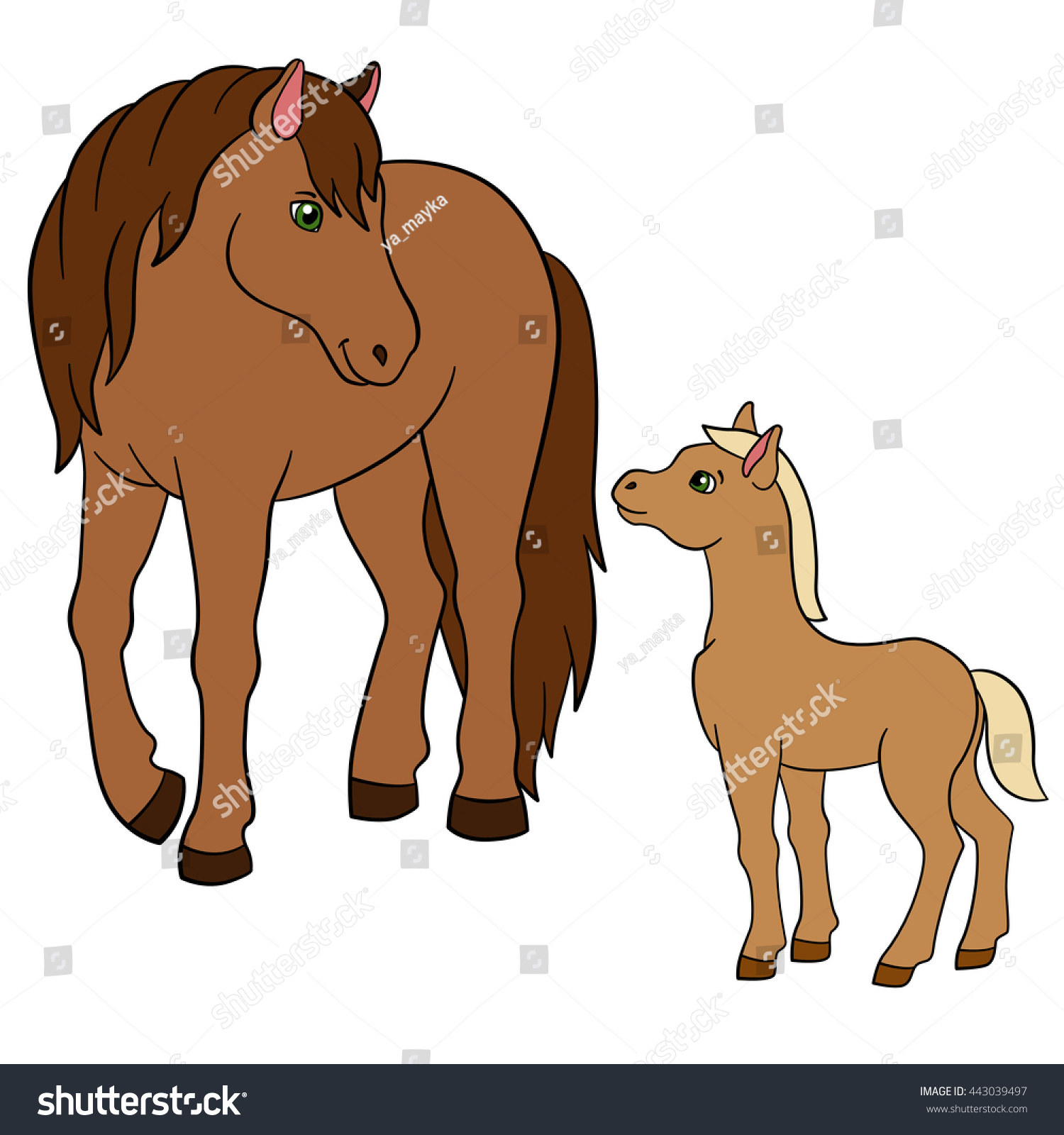 coloring pages farm animals mother horse stock vector 443039497