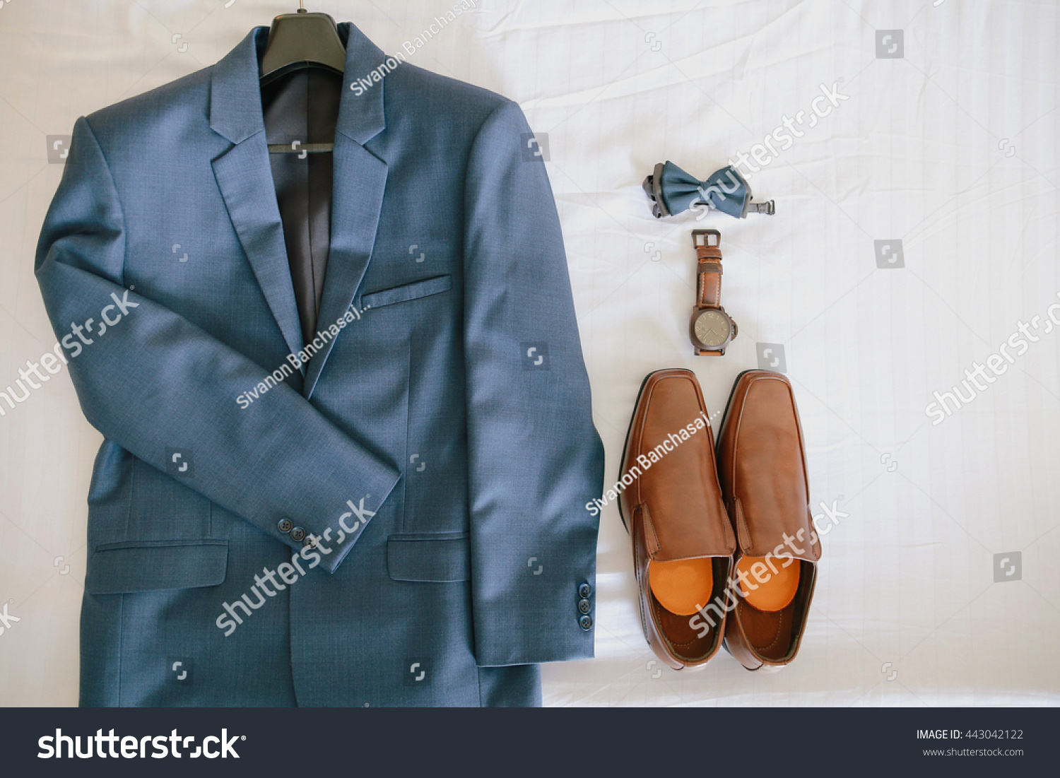 Blue Suit Brown Shoes Watch Bow Stock Photo (Download Now) 443042122 ...