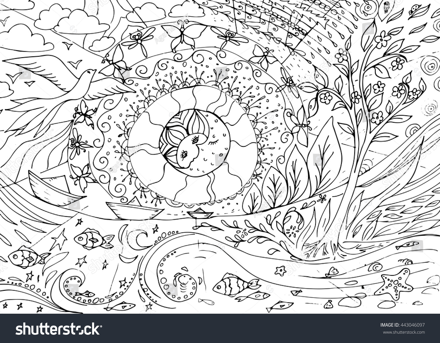 Seasons Day And Night Nature Coloring Book Page For Older Children Adults