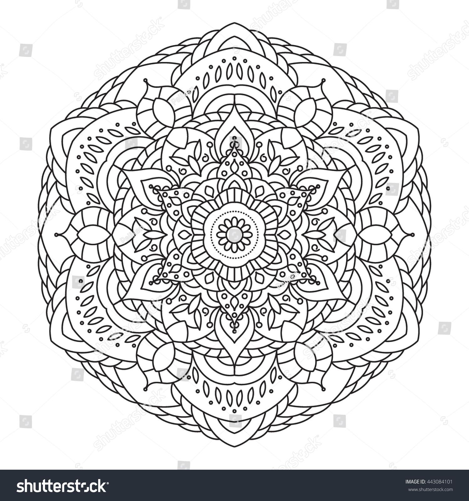 Mandala coloring book. Black and white lace pattern raster ...
