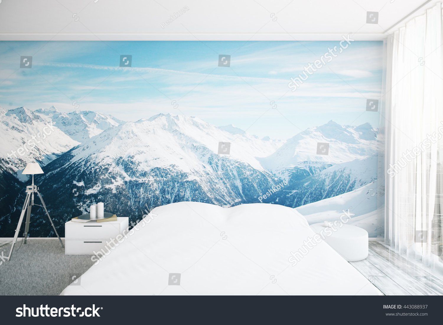 Popular Wallpaper Mountain Bedroom - stock-photo-creative-furnished-bedroom-interior-with-snowy-mountain-top-wallpaper-d-rendering-443088937  Pictures_464516.jpg