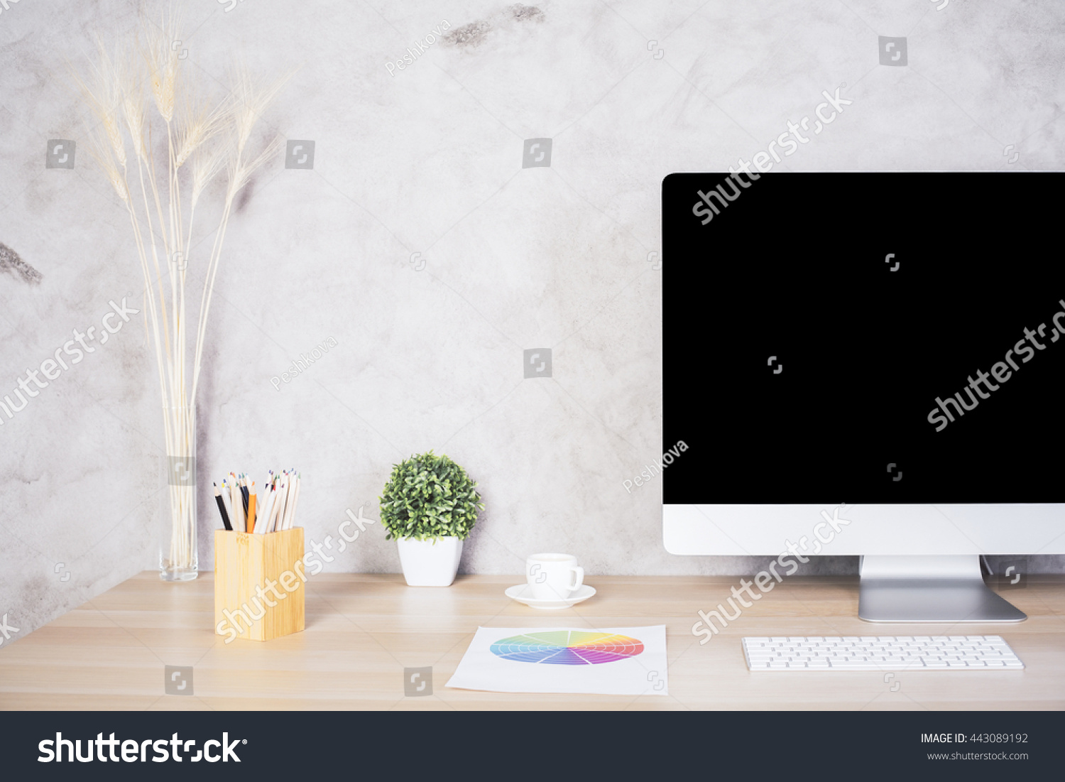 stock photo closeup of creative designer desktop with blank computer monitor coffee cup colorful diagram 443089192 closeup creative designer desktop blank computer stock illustration