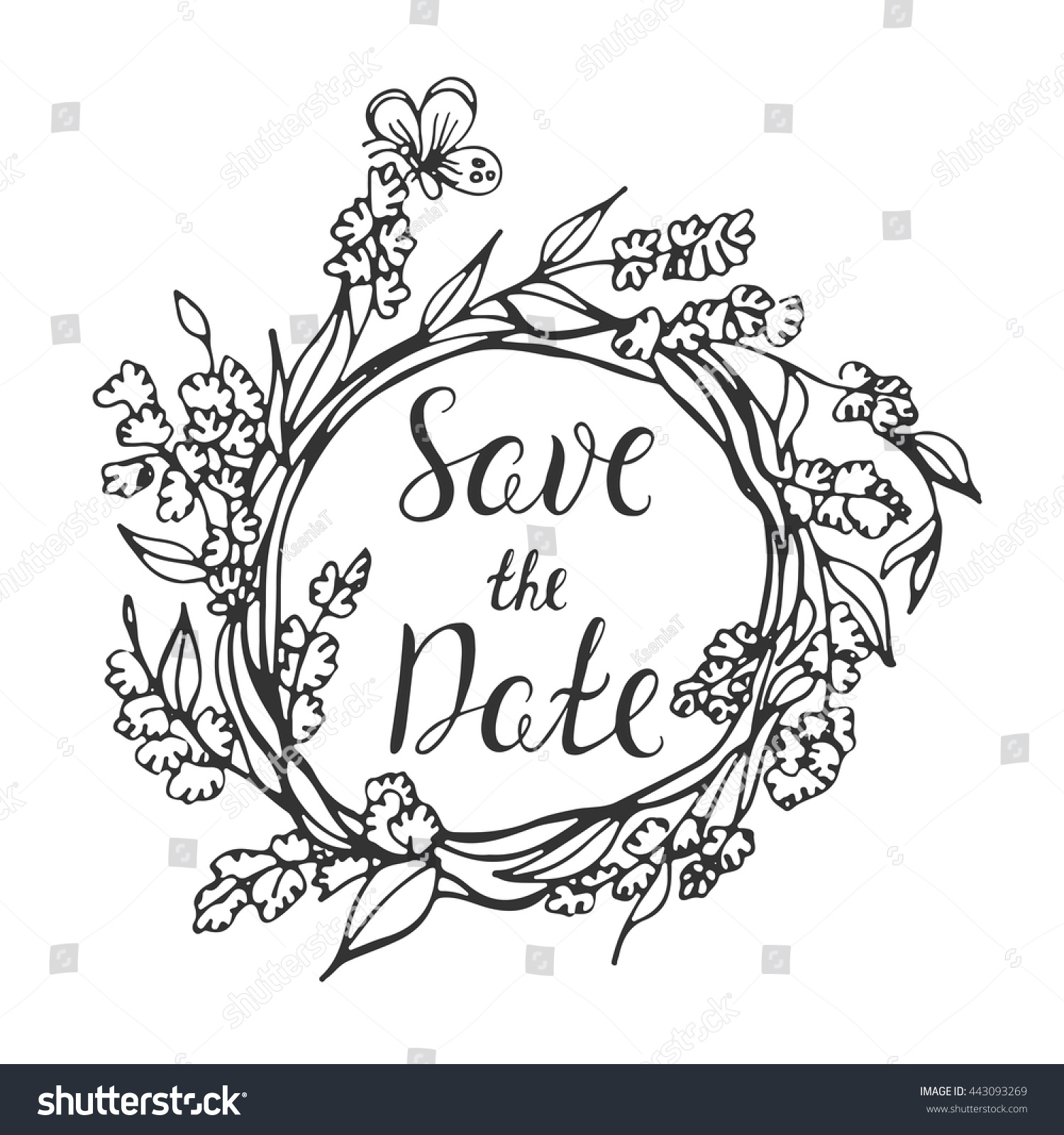 Save The Date Wedding Floral Ornament Wedding Floral: Vector Calligraphy Save Date Lettering Doodle Stock Vector