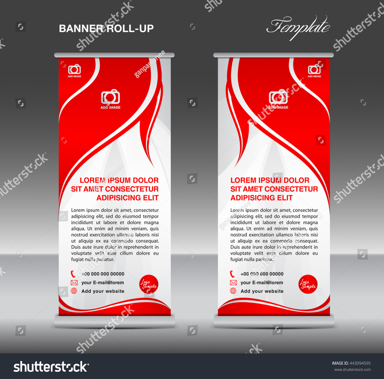 red white roll banner stand template stock vector  red and white roll up banner stand template flyer vector for business advertisement display