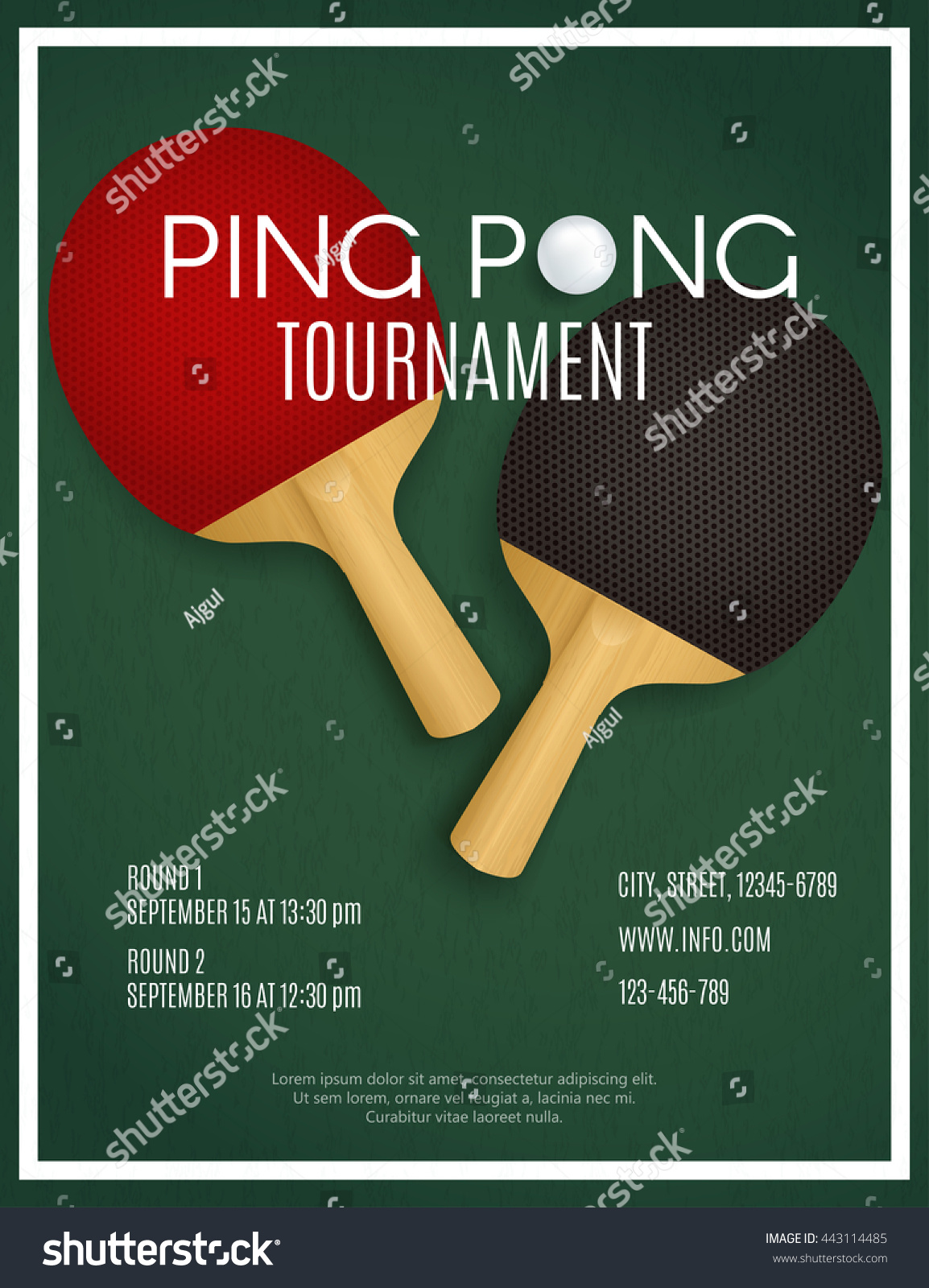 Ping pong tournament two rackets on stock vector 443114485 for Table tennis tournament template
