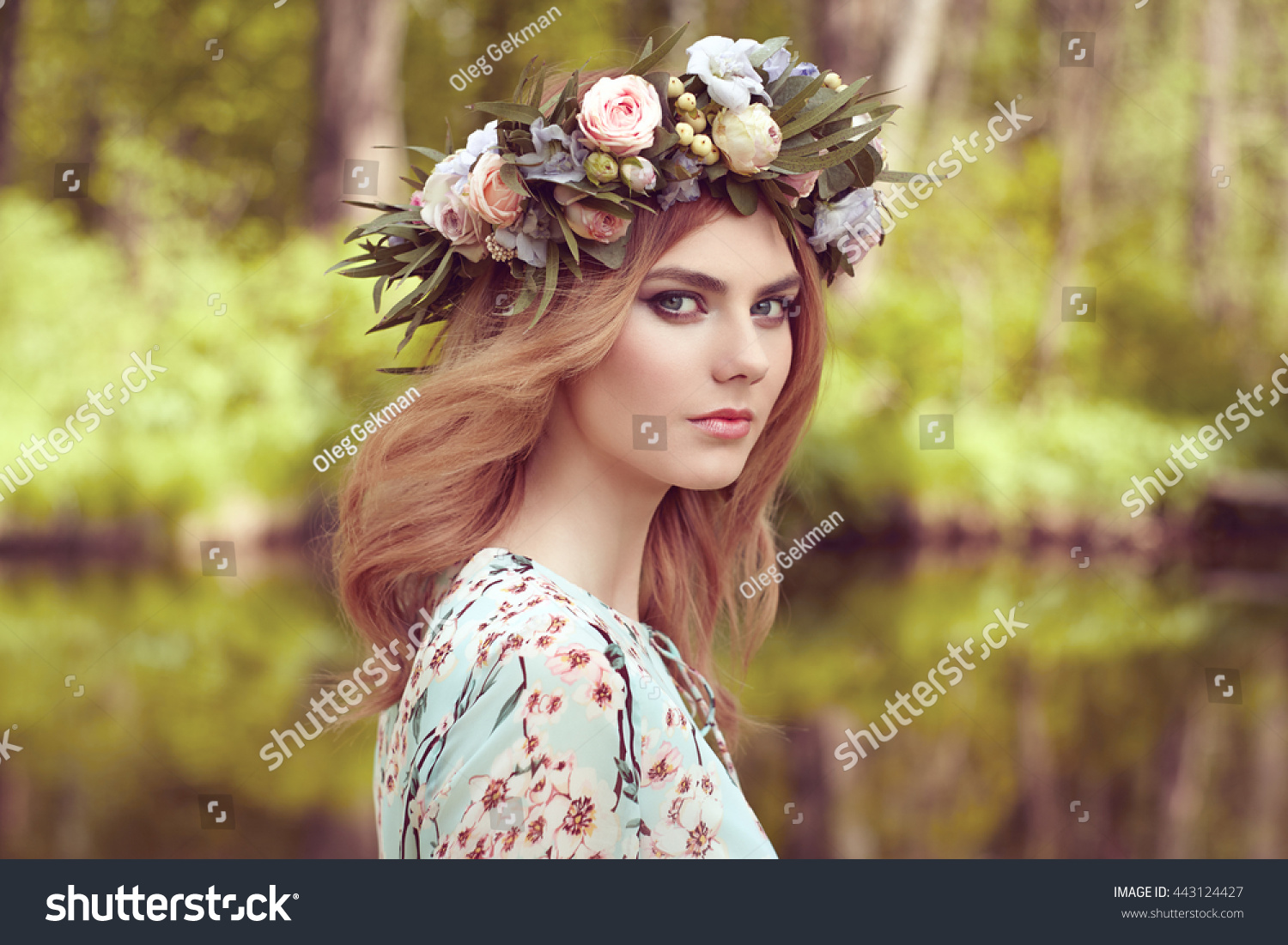 Beautiful Blonde Woman Flower Wreath On Stock Photo Edit Now