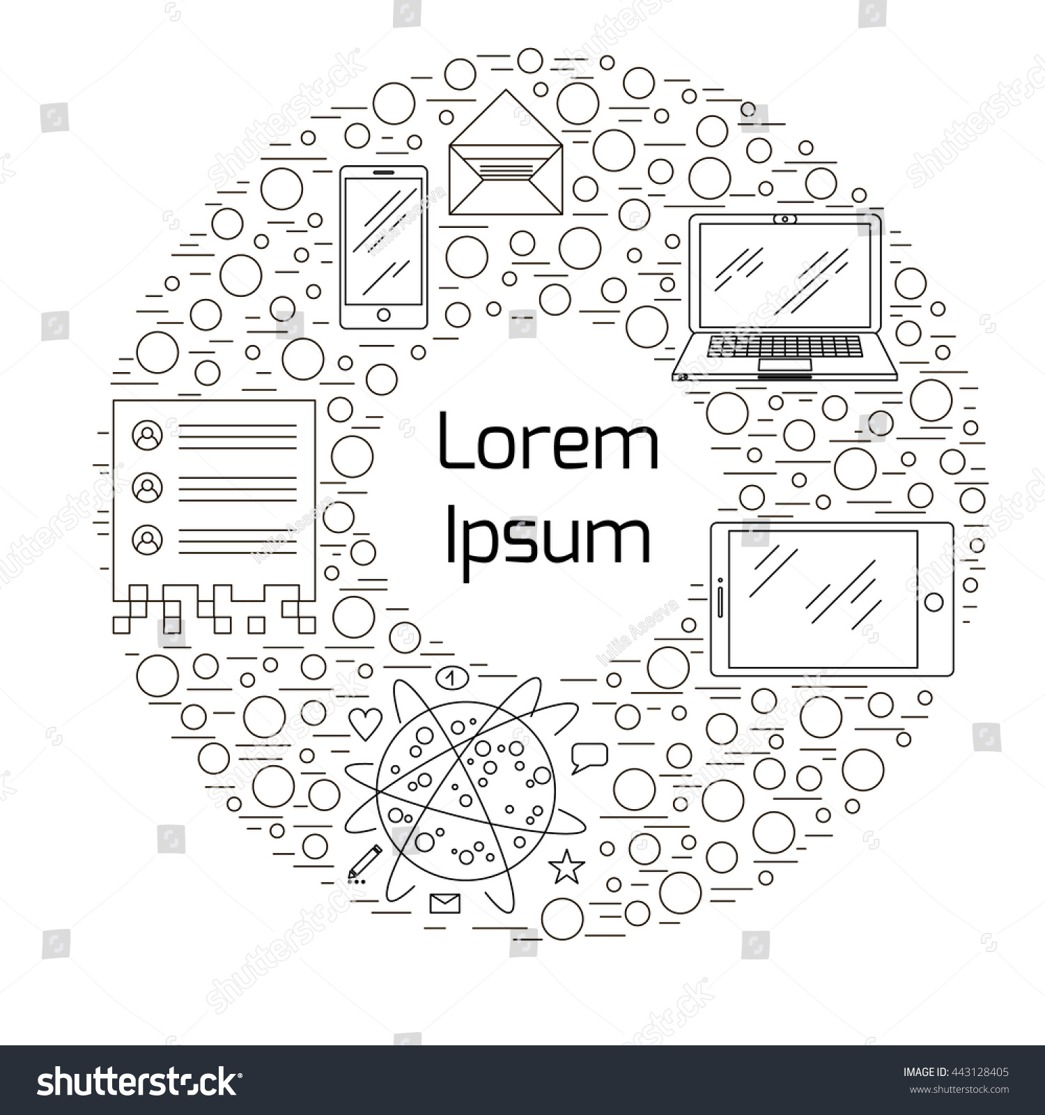 illustration on topic technology mass media stock vector  illustration on topic of technology and mass media linear vector icons mini stic and simple