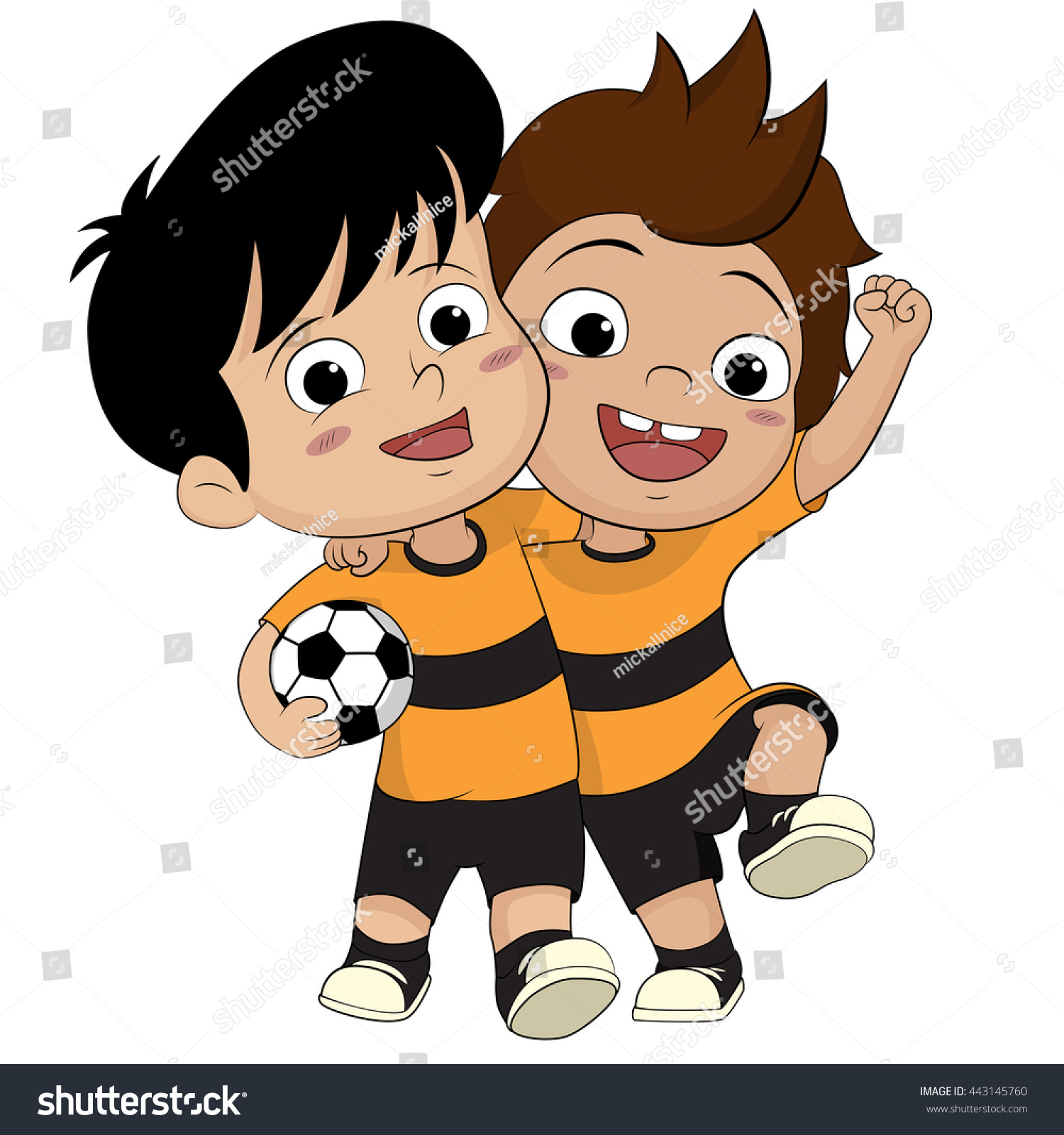 cartoon soccer kids friendly kid got stock vector 443145760