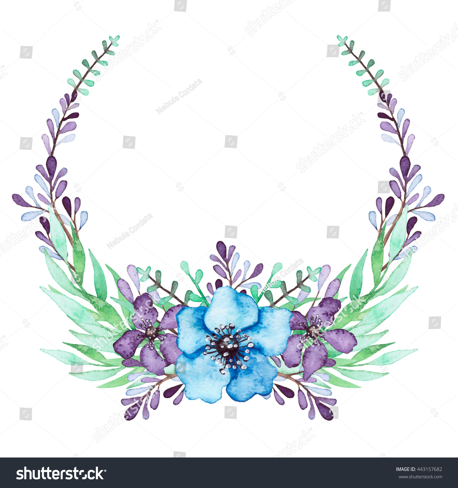 Royalty Free Wreath With Watercolor Blue And Violet 443157682