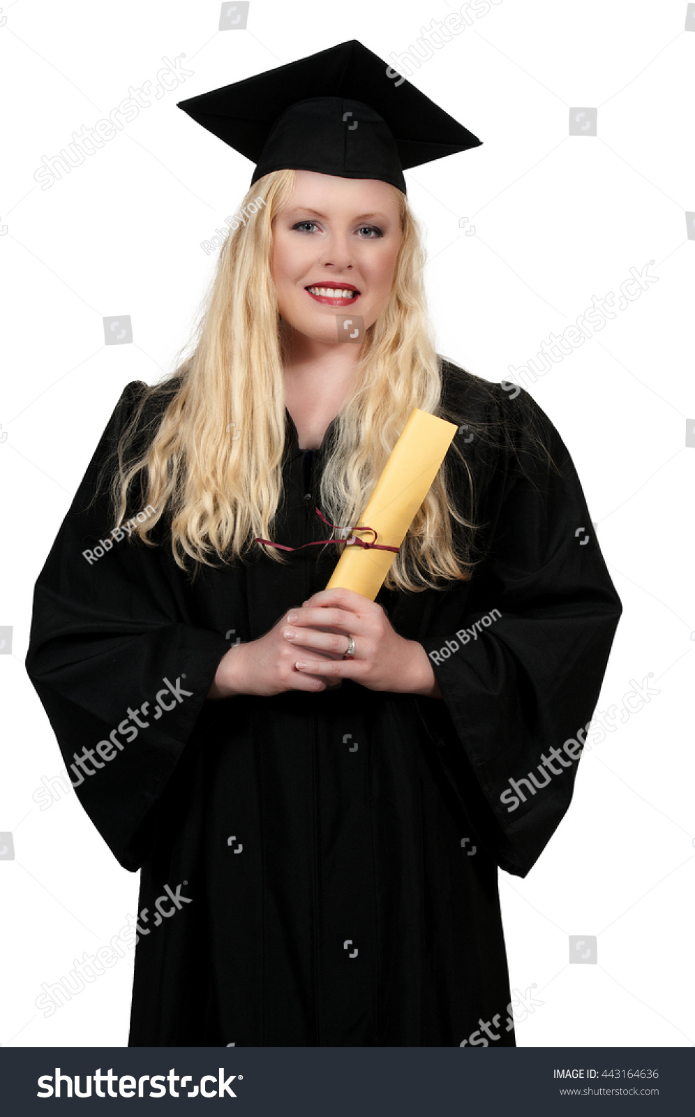 Smart Woman In Her College Graduation Gown Or Robe Stock Photo ...