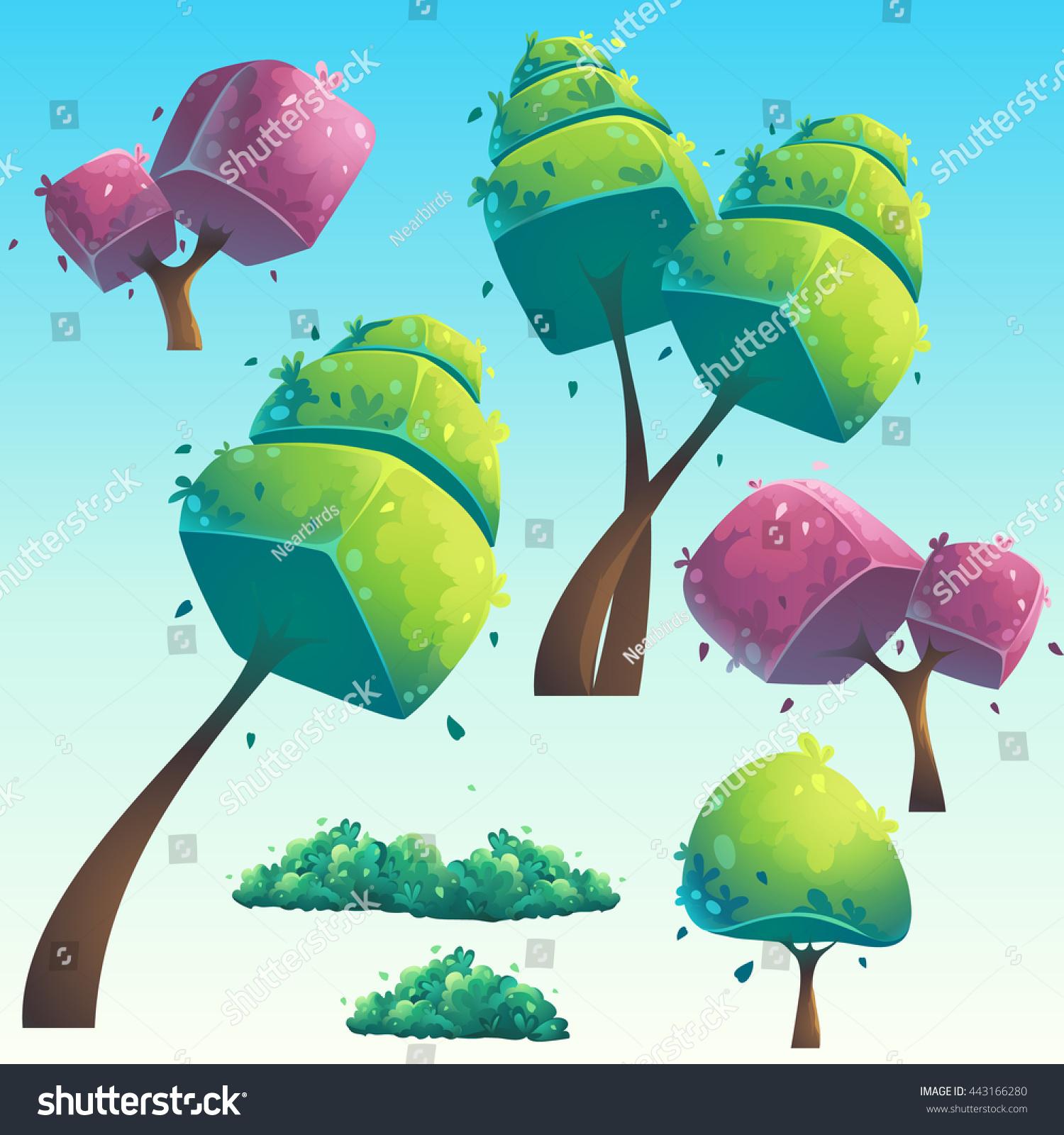 set isolated cartoon natural futuristic trees stock vector
