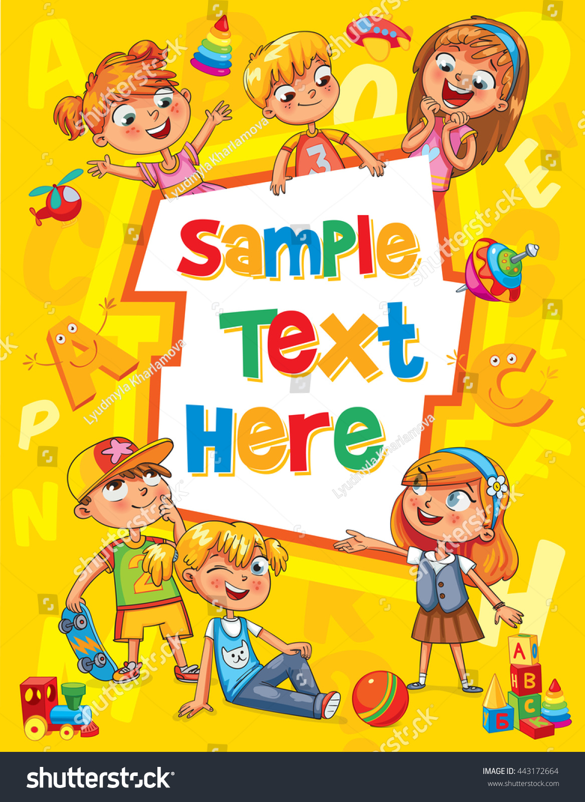English Book Cover Design For Kids ~ Children book cover template advertising brochure stock