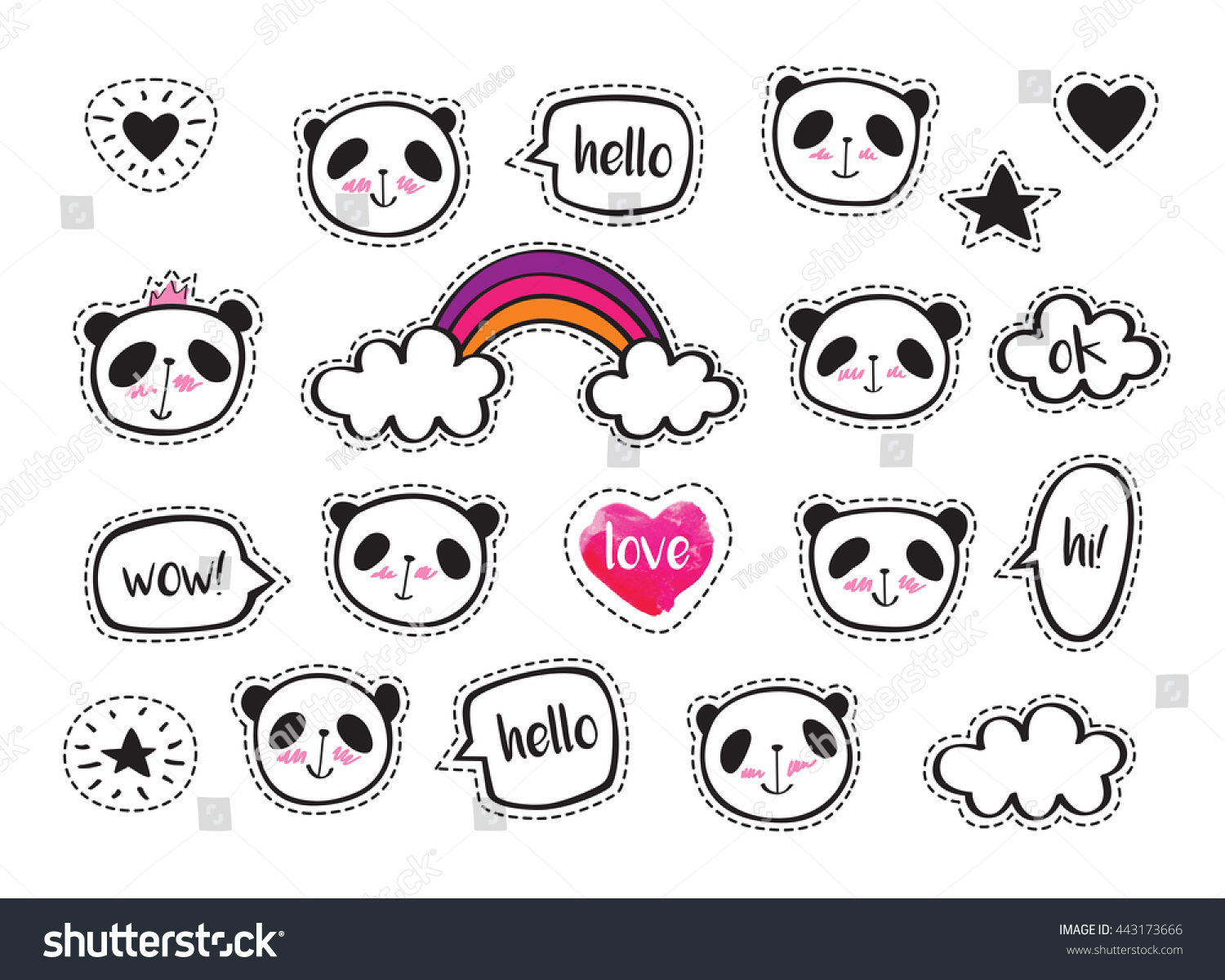 Set Stickers Cute Pandas Bubbles Badges Stock Vector 443173666 Shutterstock