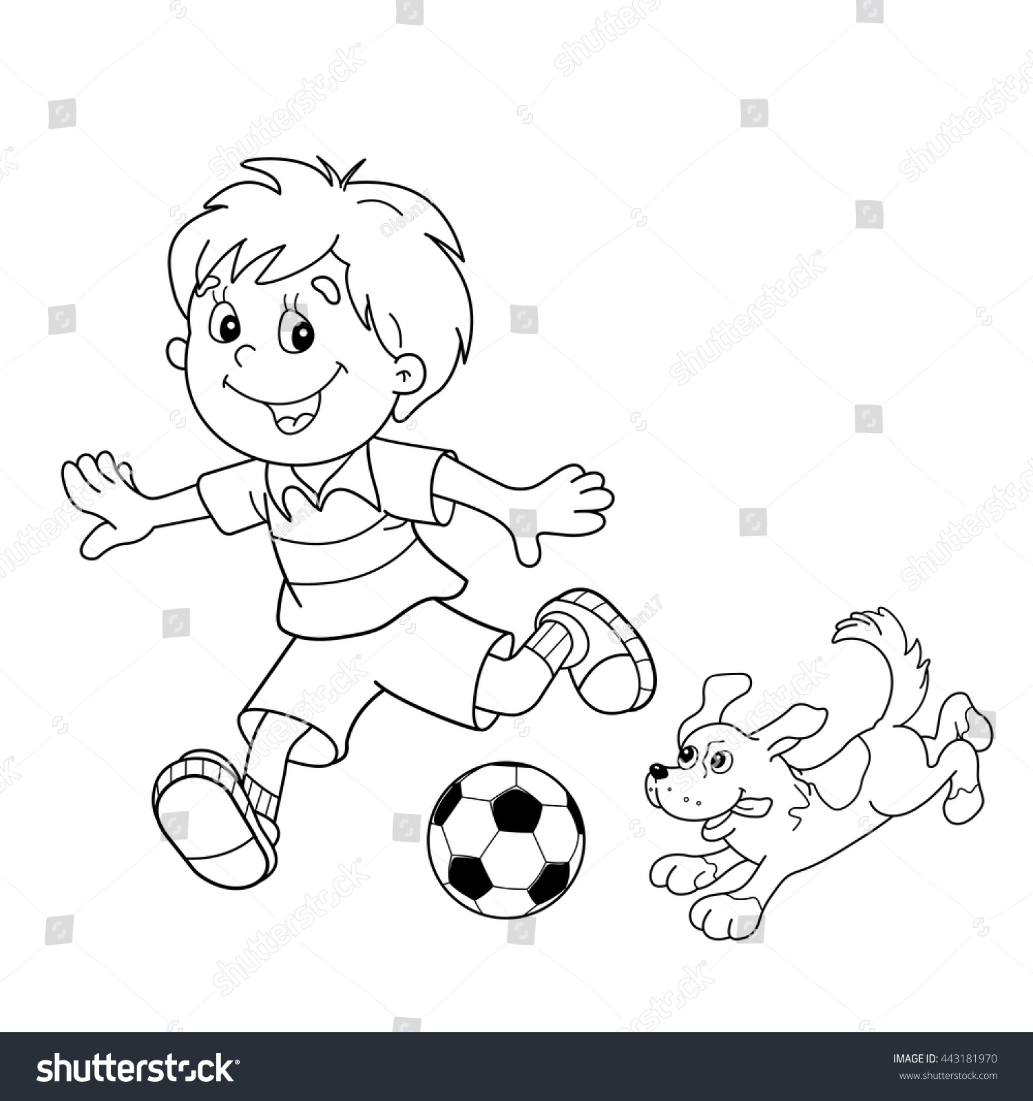 Royalty free Coloring Page Outline cartoon boy…
