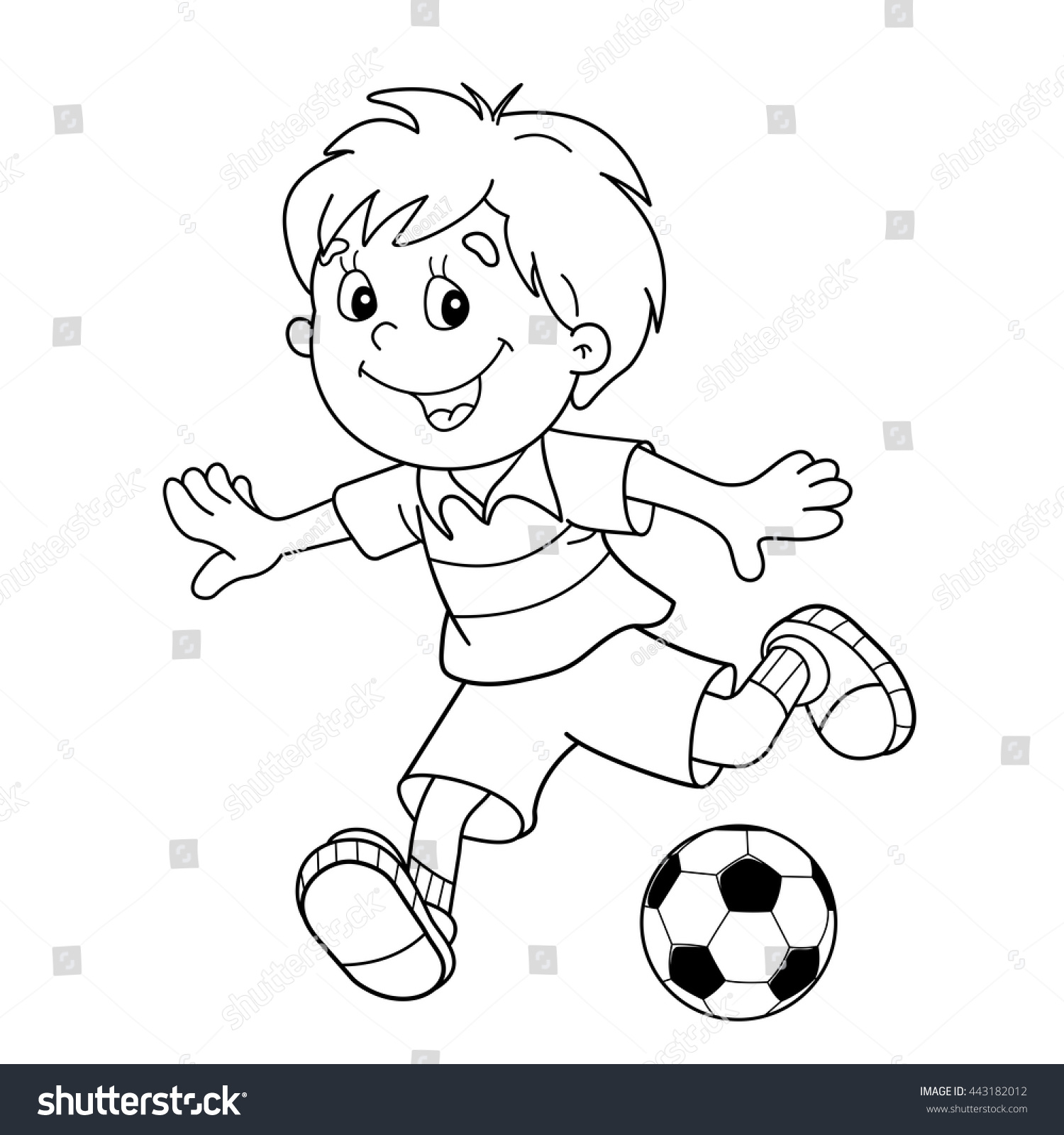 coloring page outline cartoon boy soccer stock vector 443182012
