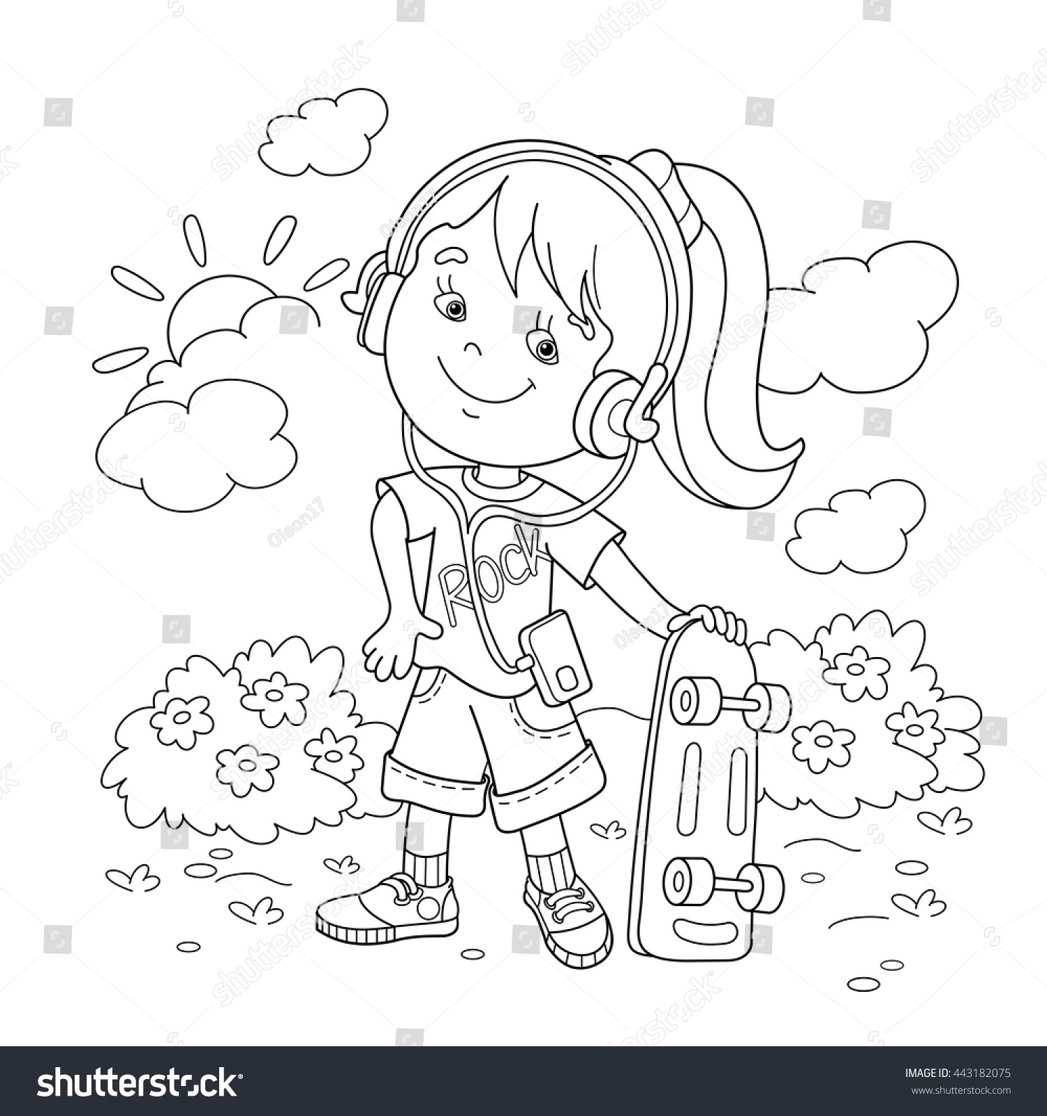 Coloring book for girl - Coloring Page Outline Of Cartoon Girl In Headphones With Skateboard Coloring Book For Kids