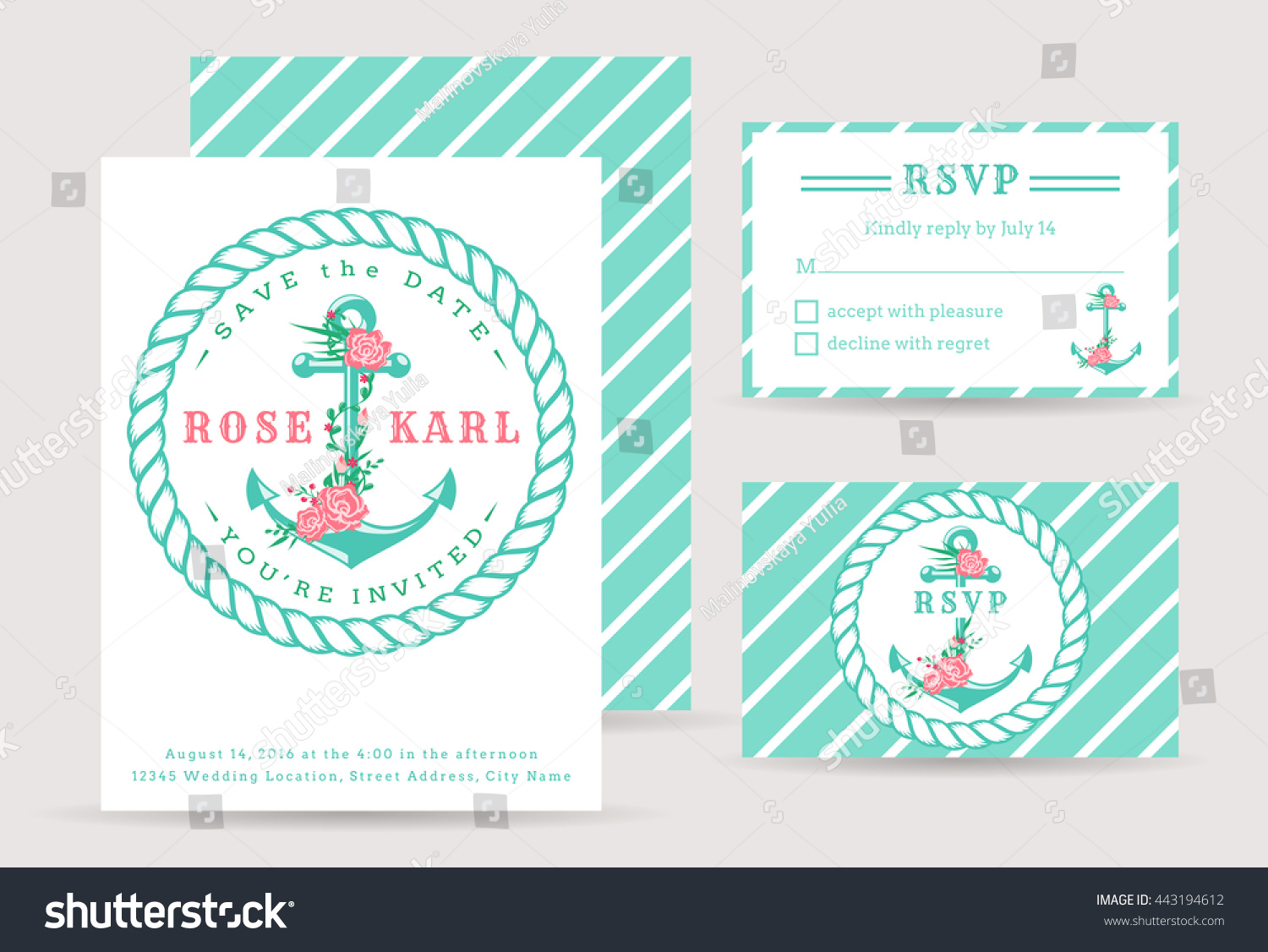 Nautical Wedding Invitation Cards Sea Theme Stock Vector 443194612 ...