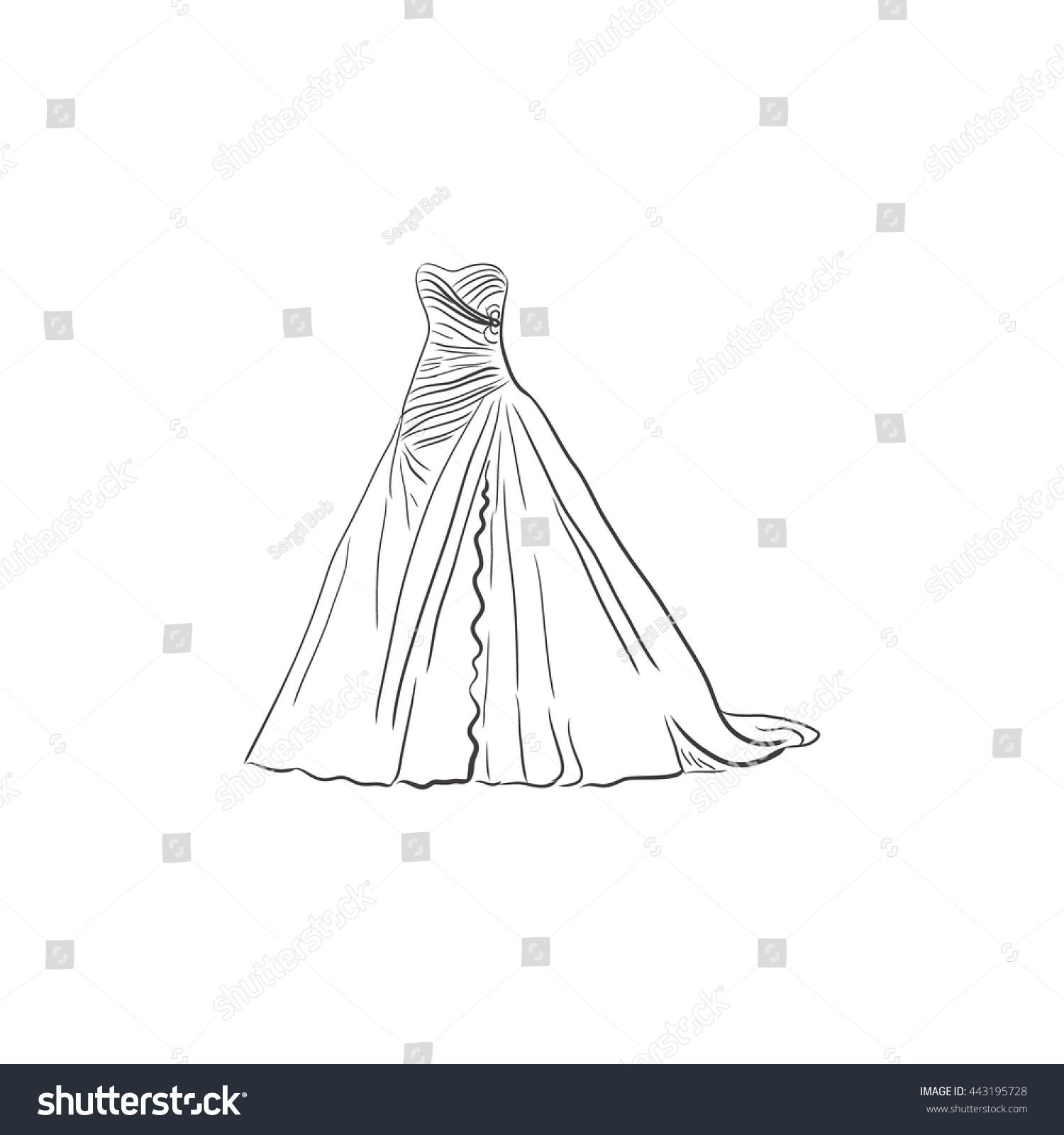 Wedding Dress Sketch Design Vector Illustration Stock Vector HD ...