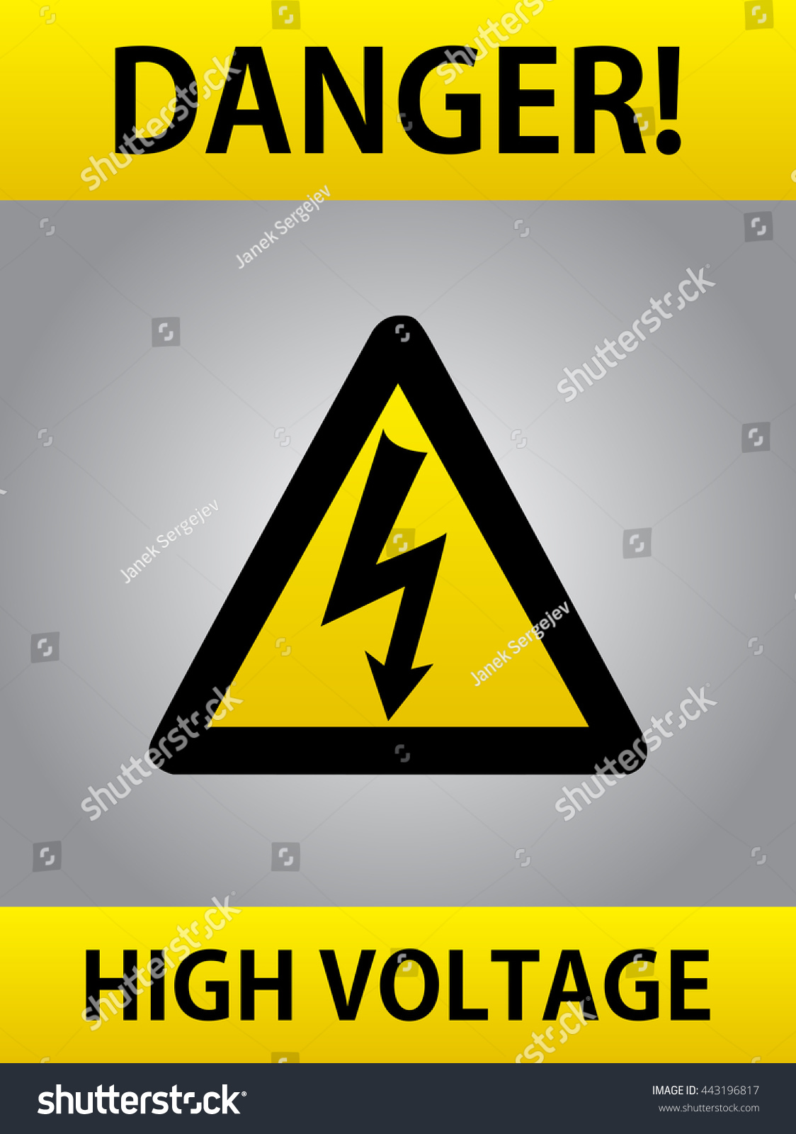 Danger High Voltage Yellow Triangle European Stock Vector Royalty ...