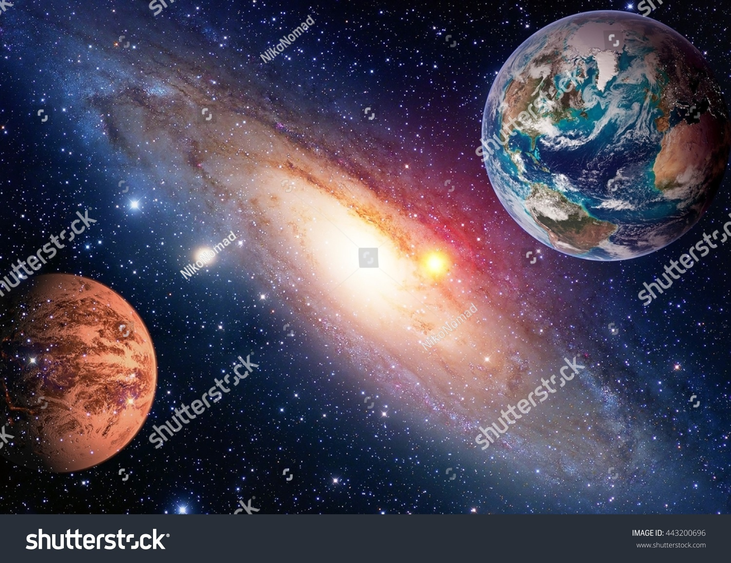 Space Planet Galaxy Milky Way Earth Stock Photo 443200696 ...