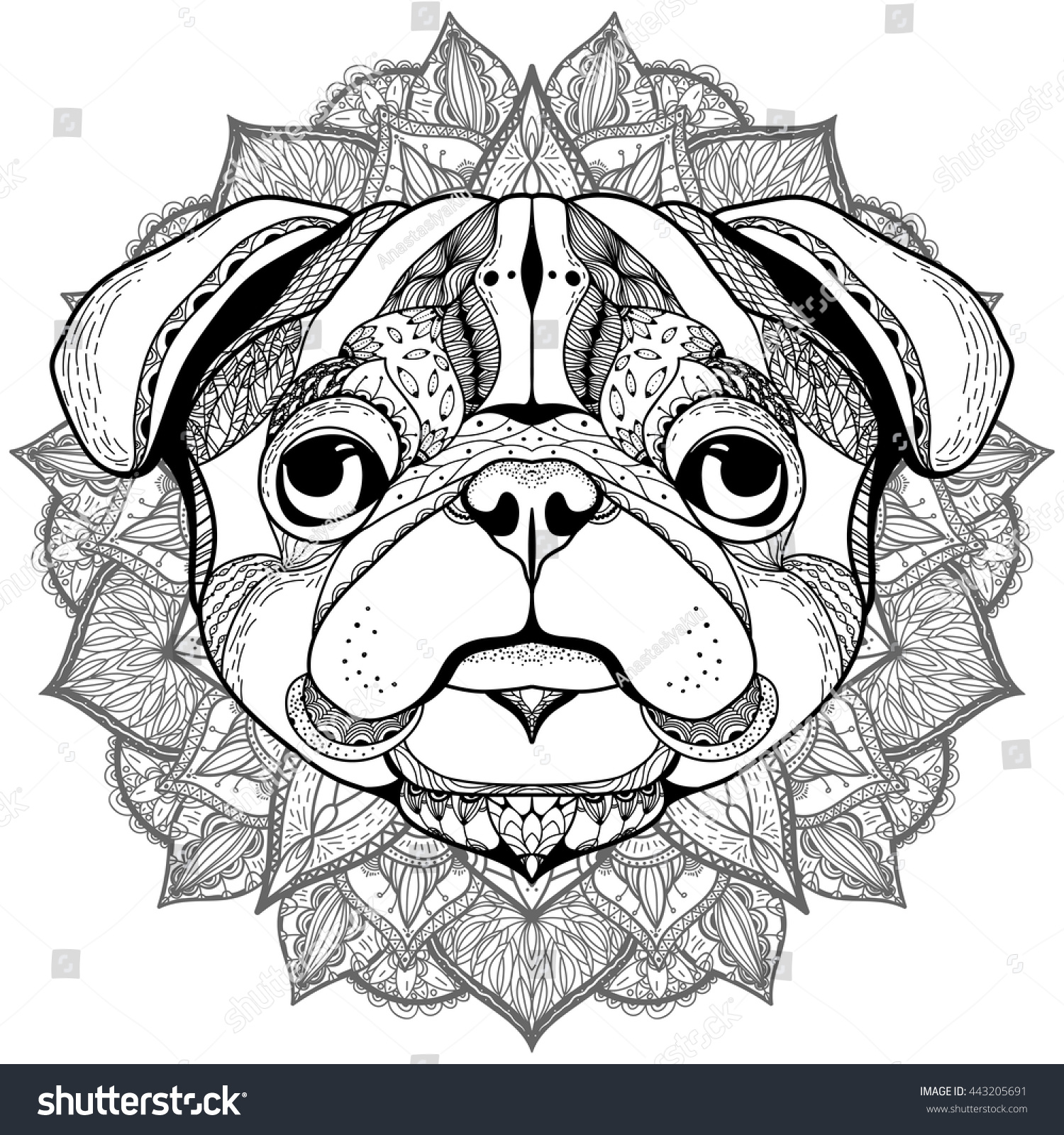 pug animal coloring pages. Zentangle stylized cartoon of PUG  Hand drawn sketch for adult antistress coloring page T Stylized Cartoon Pug Drawn Stock Vector HD Royalty