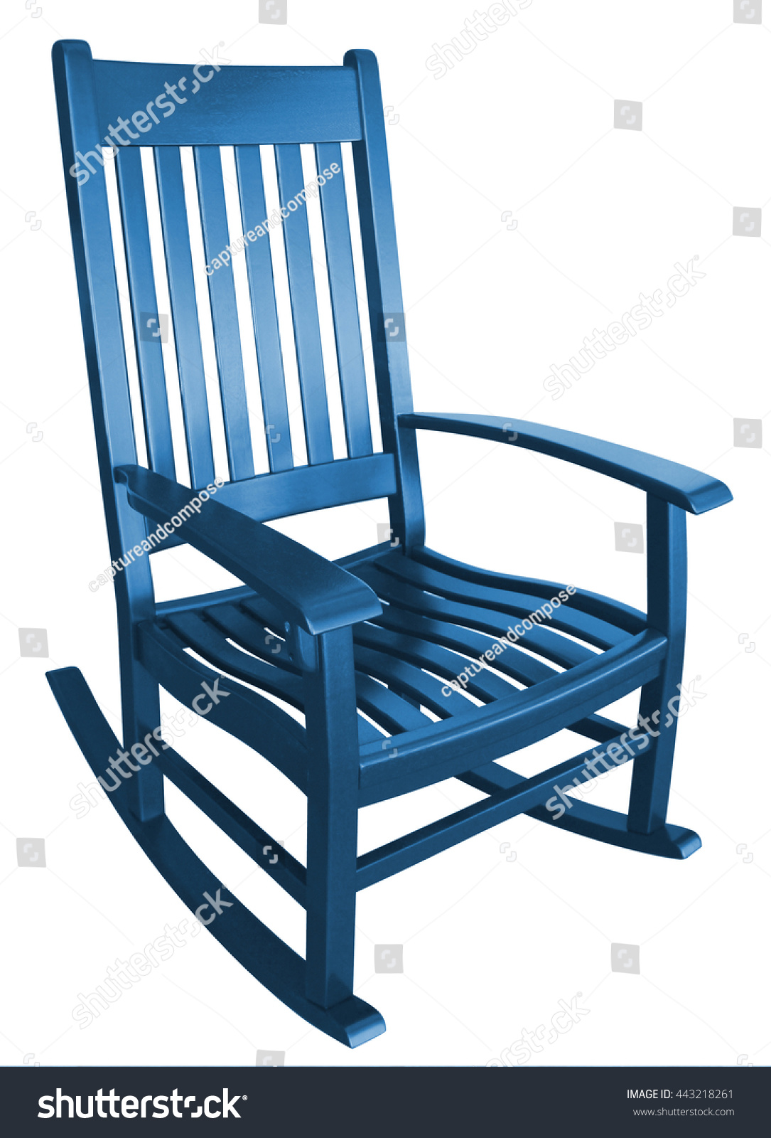 Navy Blue Rocking Chair Facing Left On A Porch Isolated Painted Wood  Country Relaxing Beach Furniture