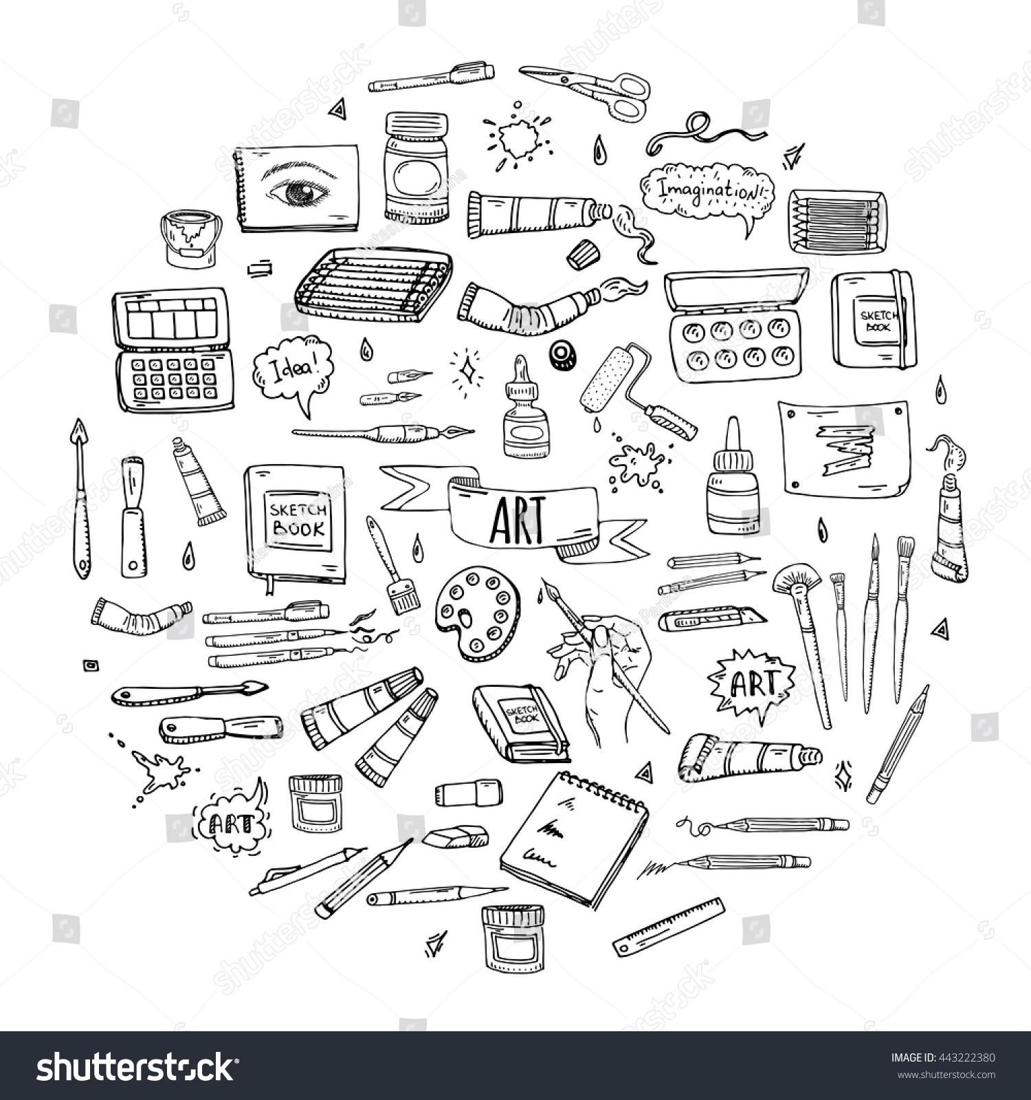 Royalty Free Hand Drawn Doodle Art And Craft Tools 443222380 Stock