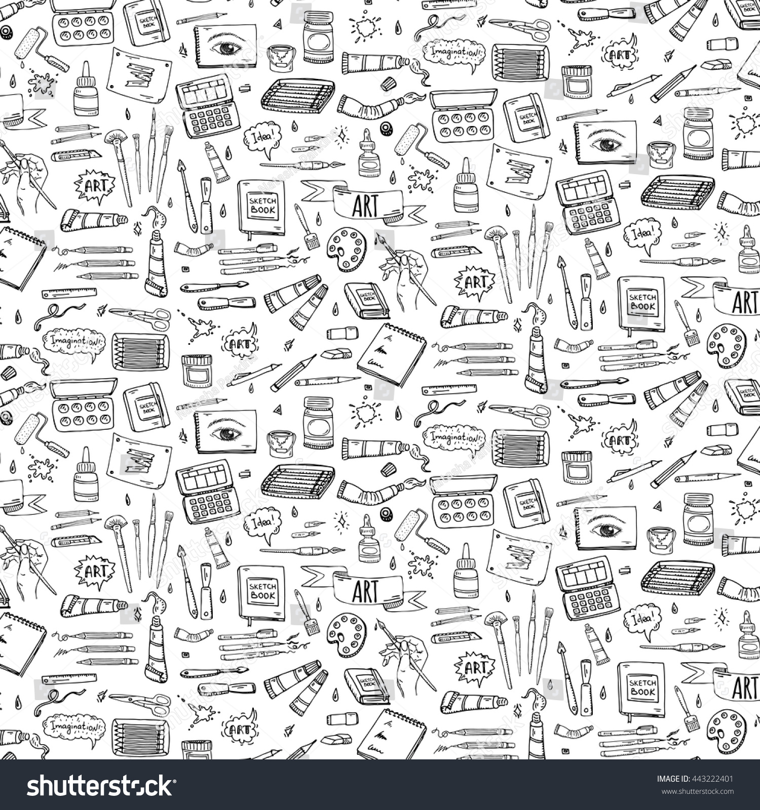 Seamless Background Hand Drawn Doodle Art Stock Vector Royalty Free