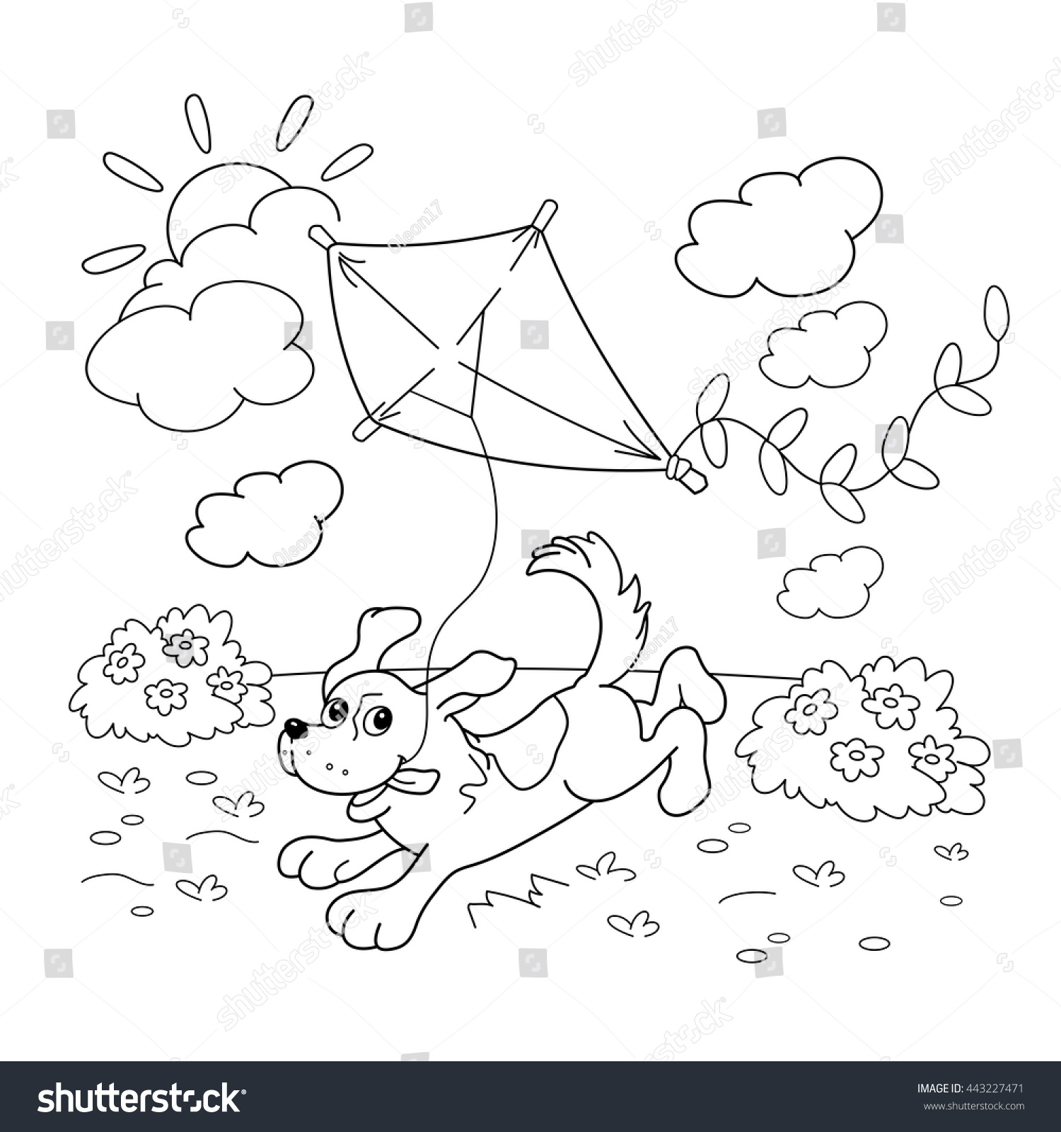 Coloring page outline of cartoon dog with a kite coloring book for kids