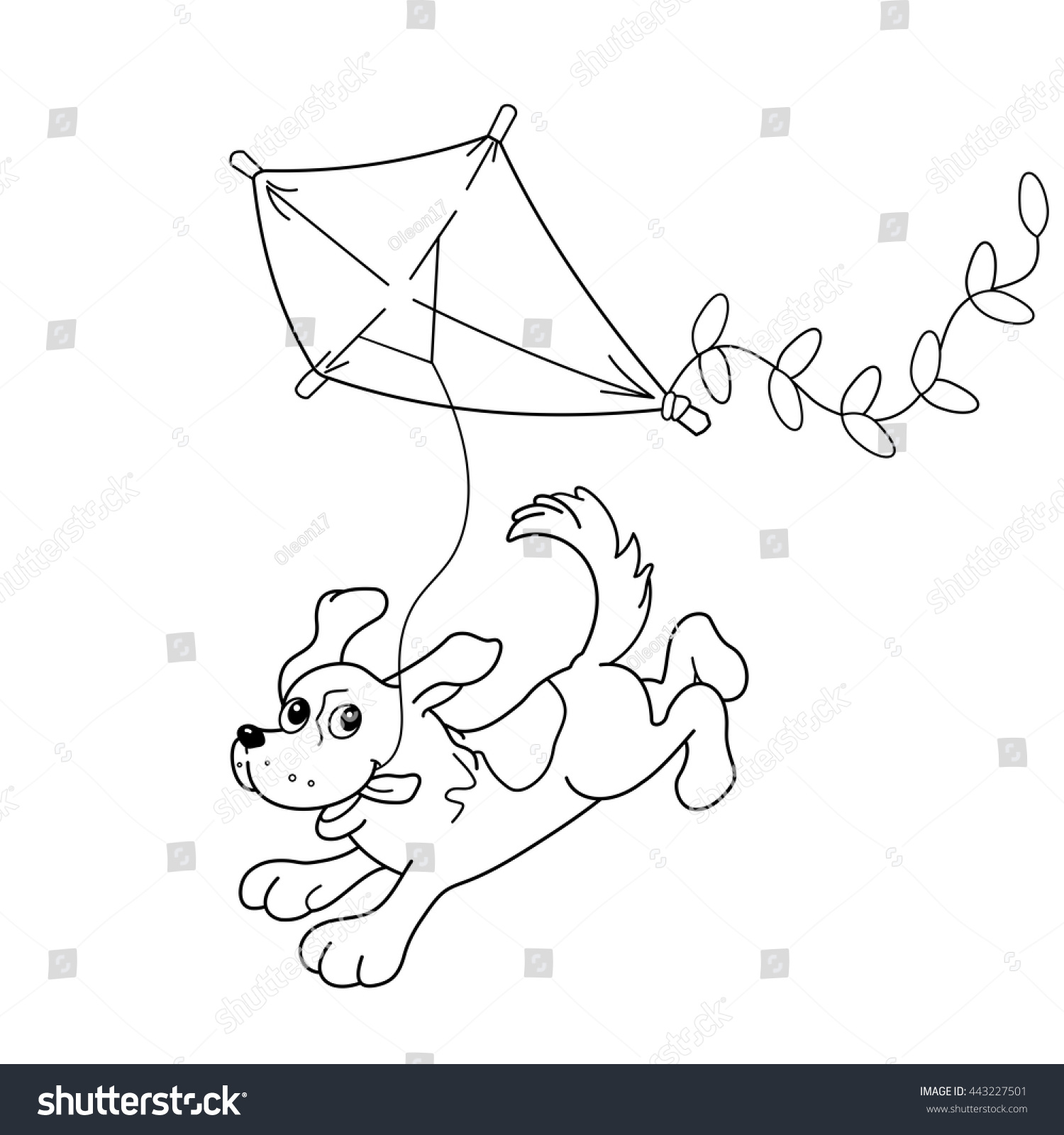 coloring page outline cartoon dog kite stock vector 443227501