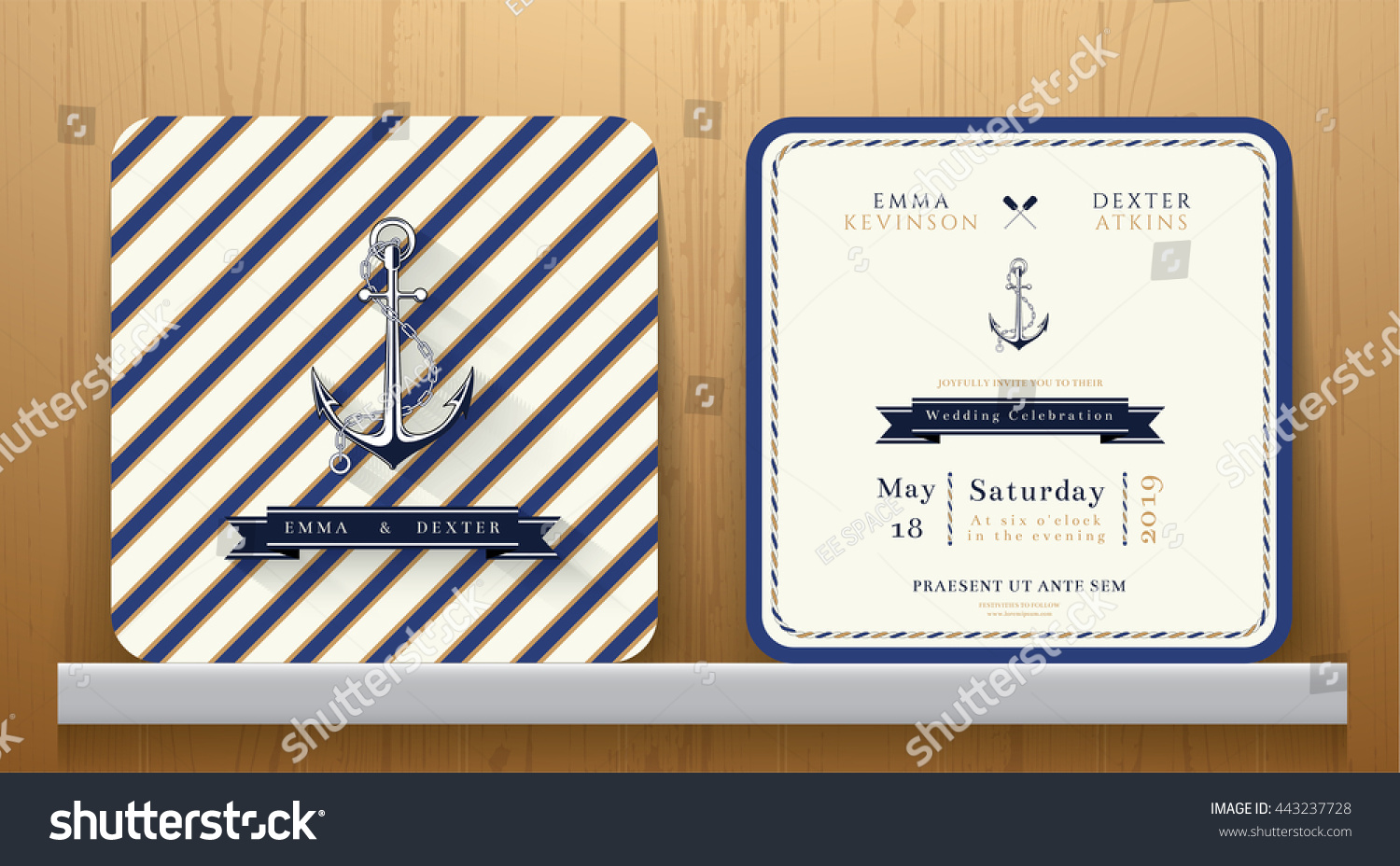 Wedding Invite Card Stock: Vintage Nautical Anchors Wedding Invitation Card Stock