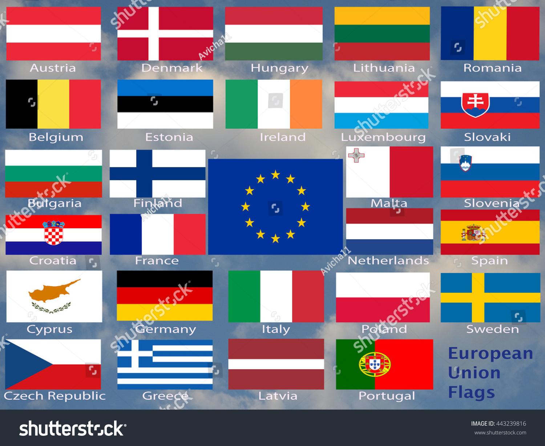 new set european union flags country stock photo 443239816