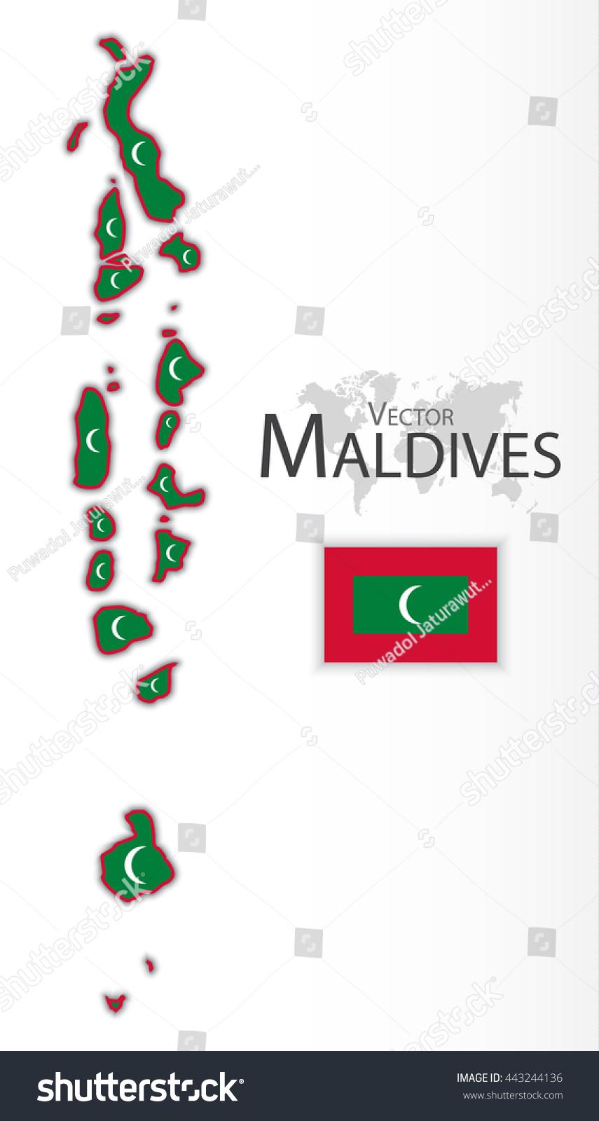 Republic Maldives Flag Map Transportation Tourism Stock Vector - Republic of maldives map