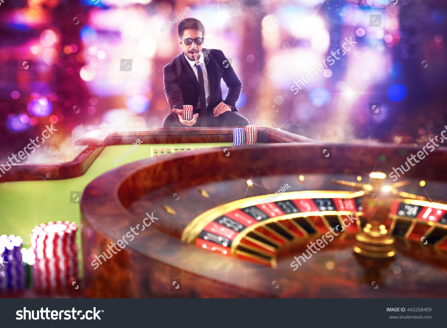 3D Rendering gambler playing roulette