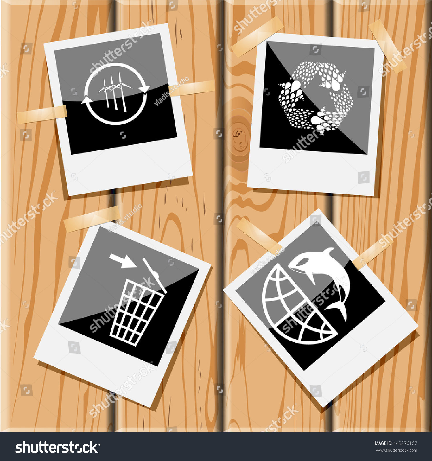 4 images wind turbine recycle symbol stock vector 443276167 4 images wind turbine recycle symbol recycling bin globe and shamoo biocorpaavc Choice Image