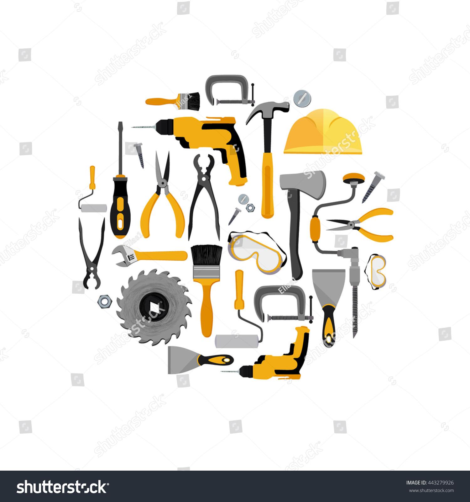 construction tools set vector illustration construction stock