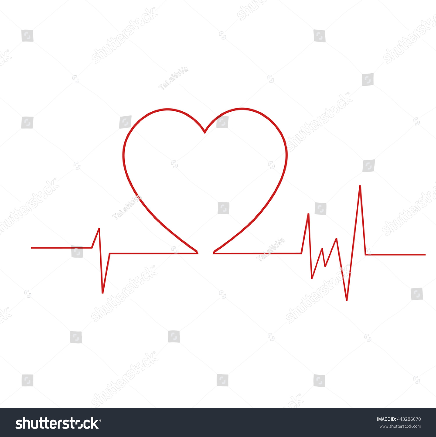 Royalty Free Heart Cardiogram Life Line Symbol 443286070 Stock