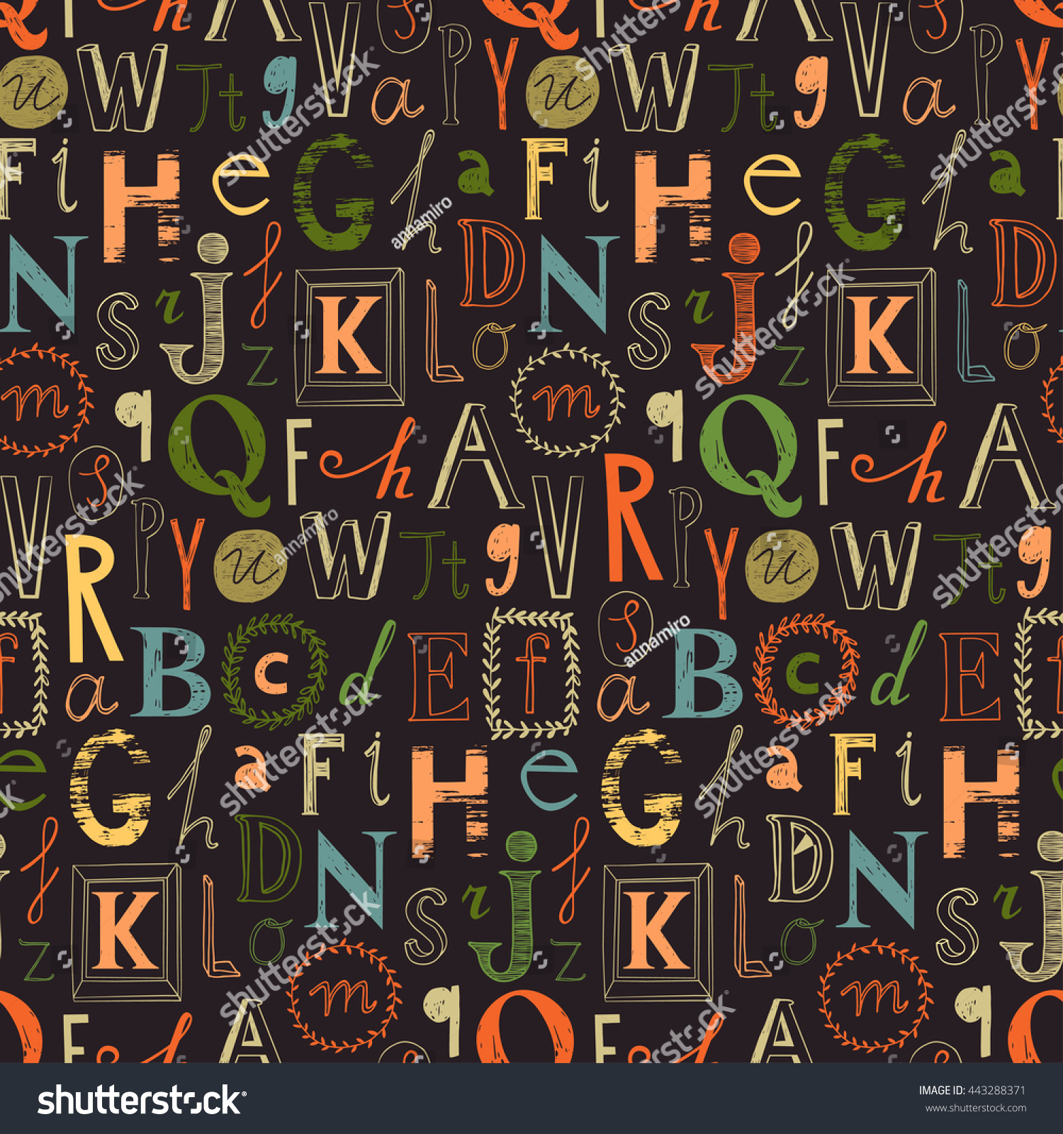 Alphabet Seamless Background Cute Alphabet Design Stock Vector