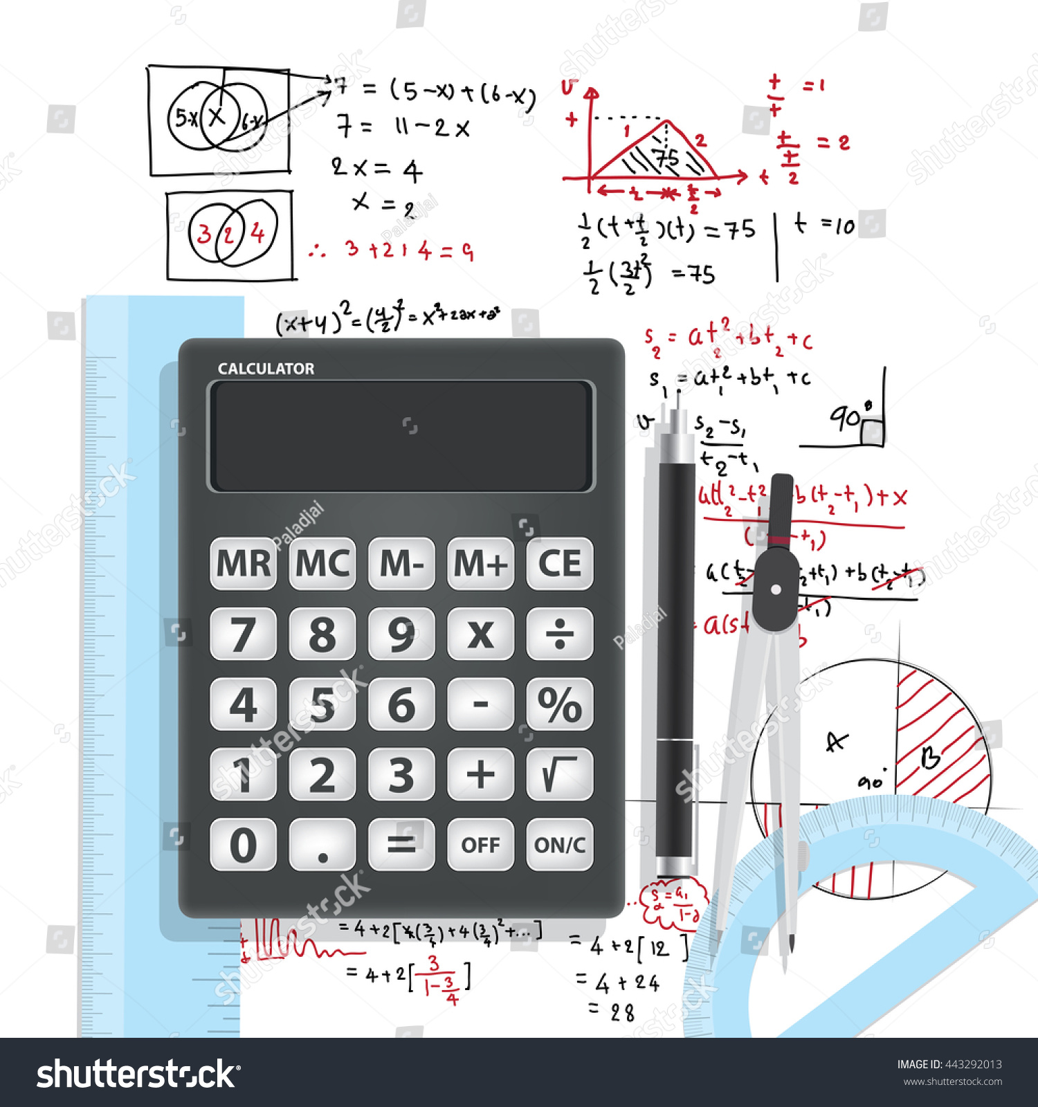 Computational Mathematics Calculators Accessories On Mathematical Bt 2 With And Formula Background Vector Education Math Concept