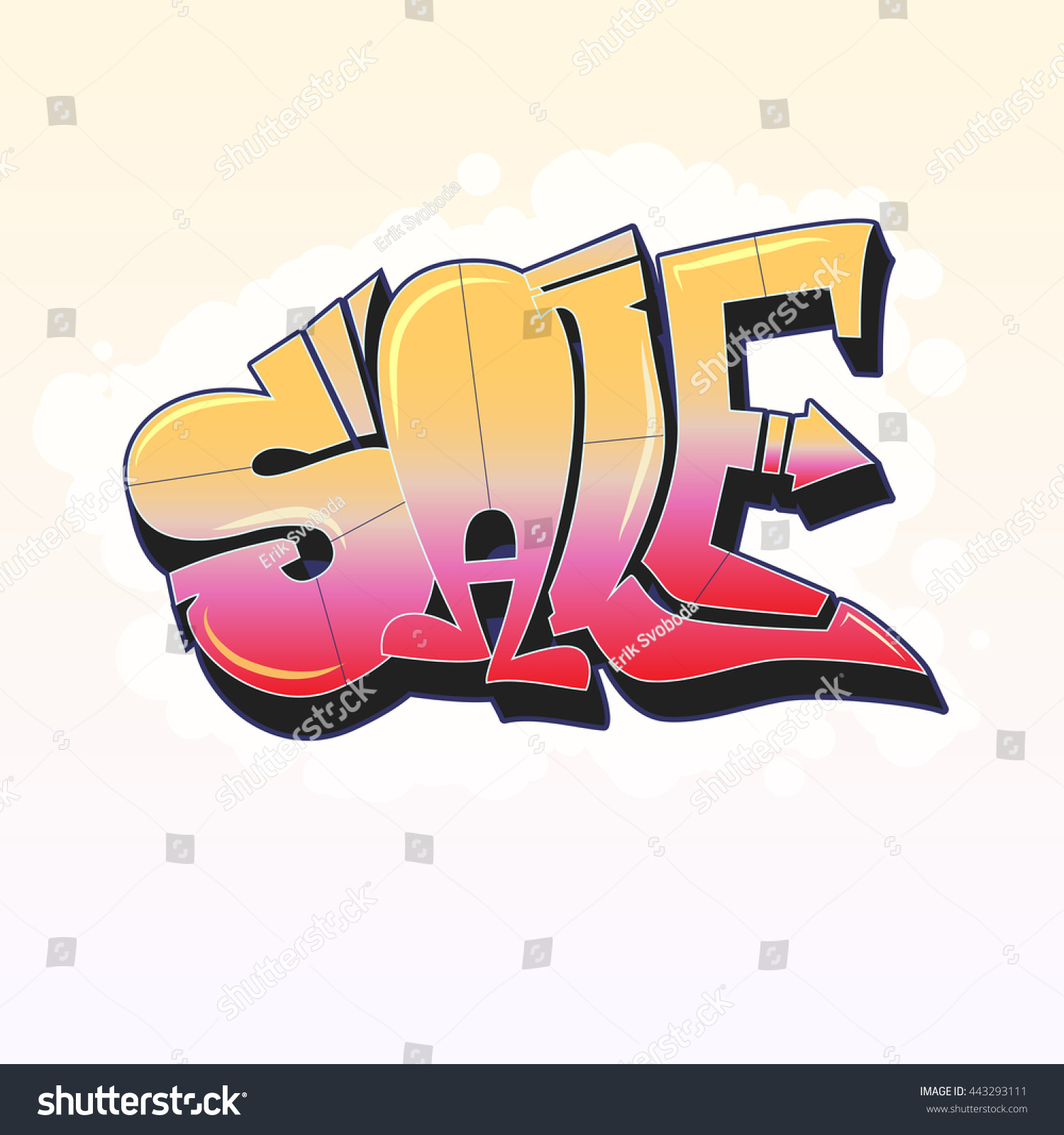 Sale lettering in graffiti style banner with white background vector editable flyer easy
