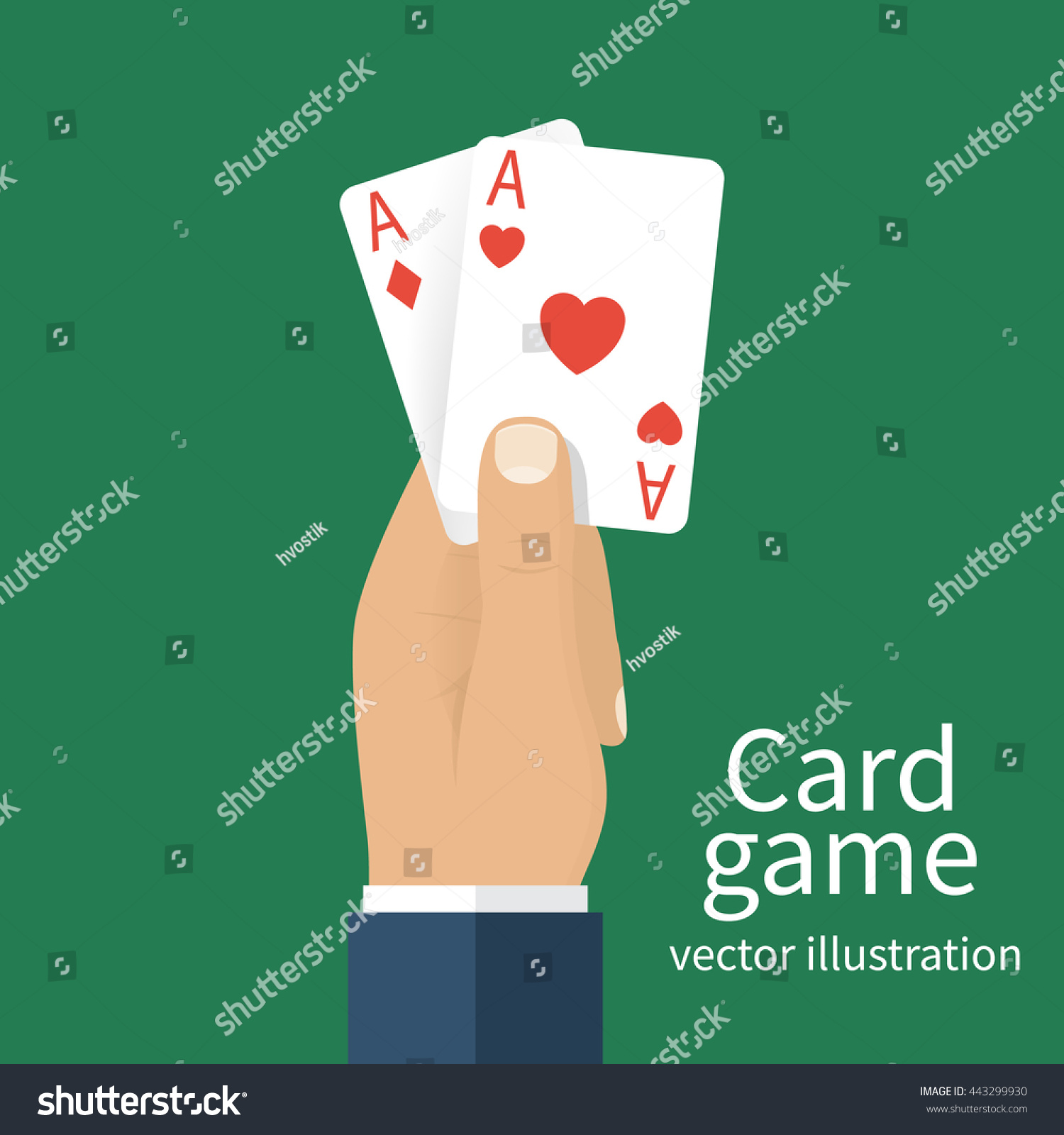 playing cards hand men vector illustration stock vector