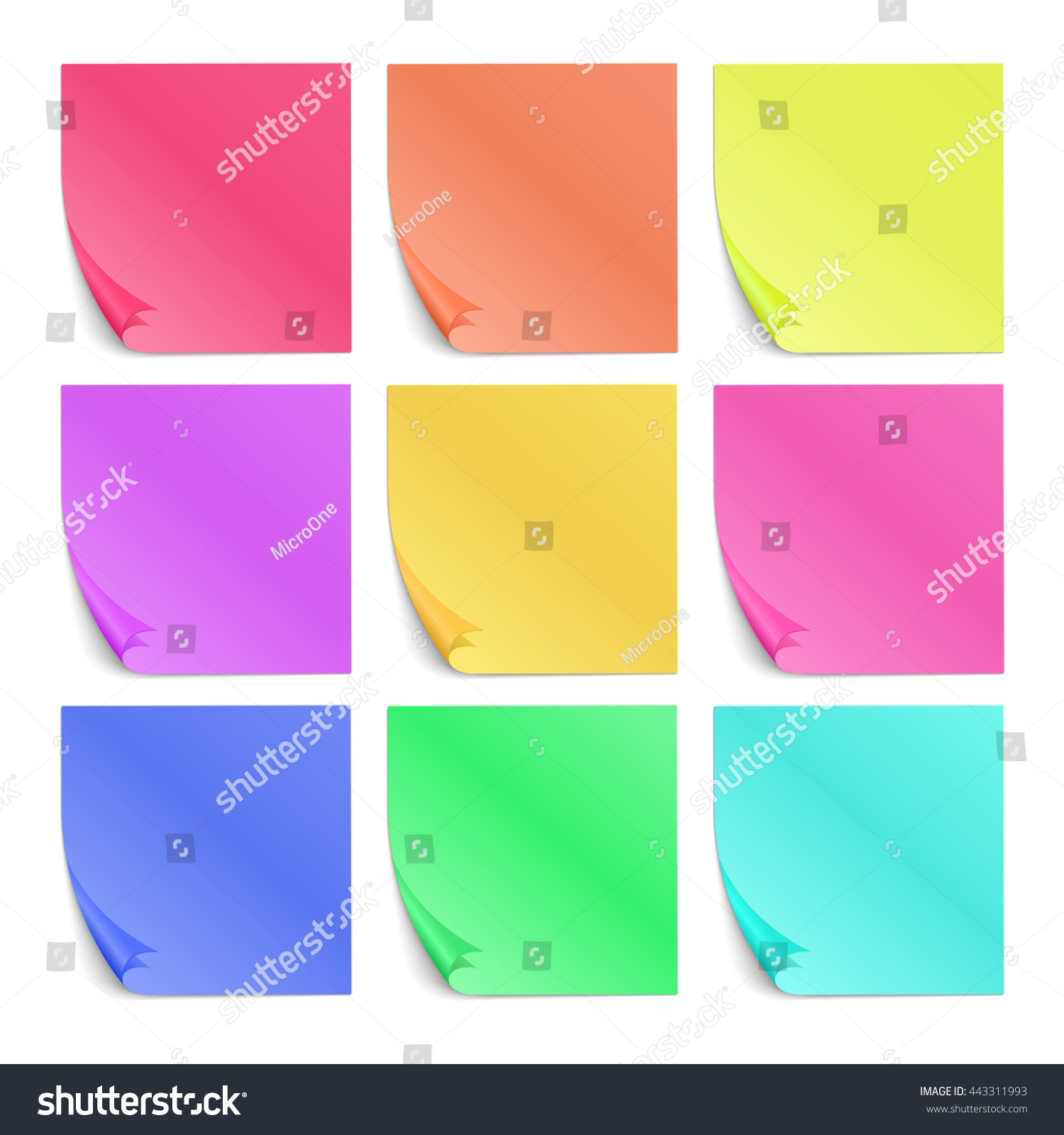 Color Post Paper Stickers Notes Vector Stock Vector 443311993 ...