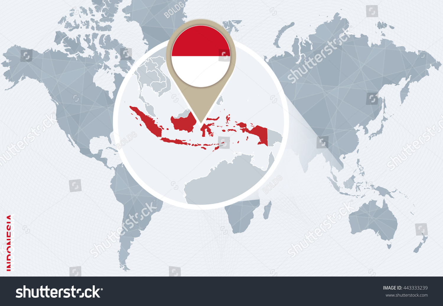 Abstract Blue World Map Magnified Indonesia Stock Vector 443333239 ...