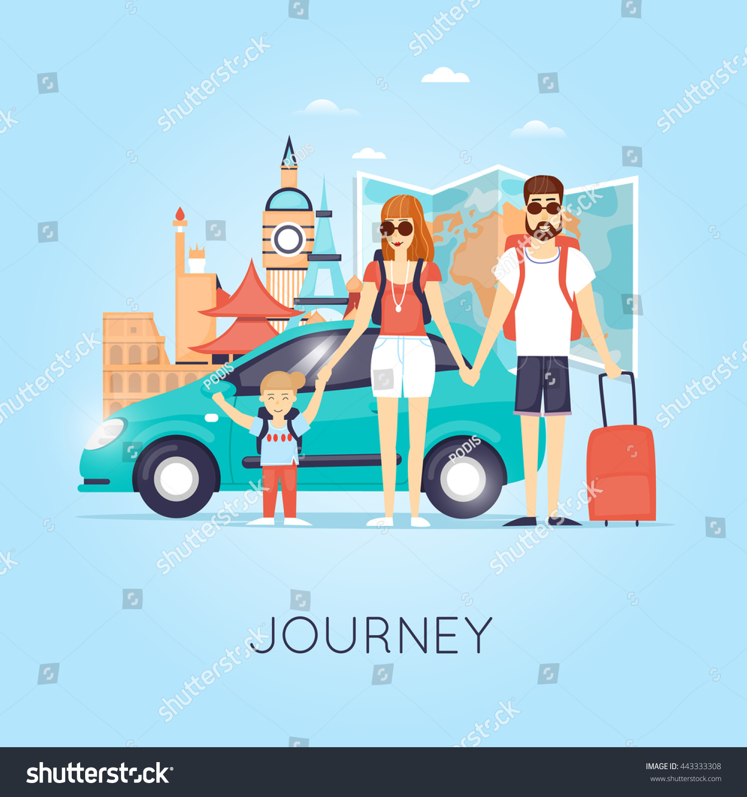 Family Travel By Car Russia Usa Stock Vector 443333308