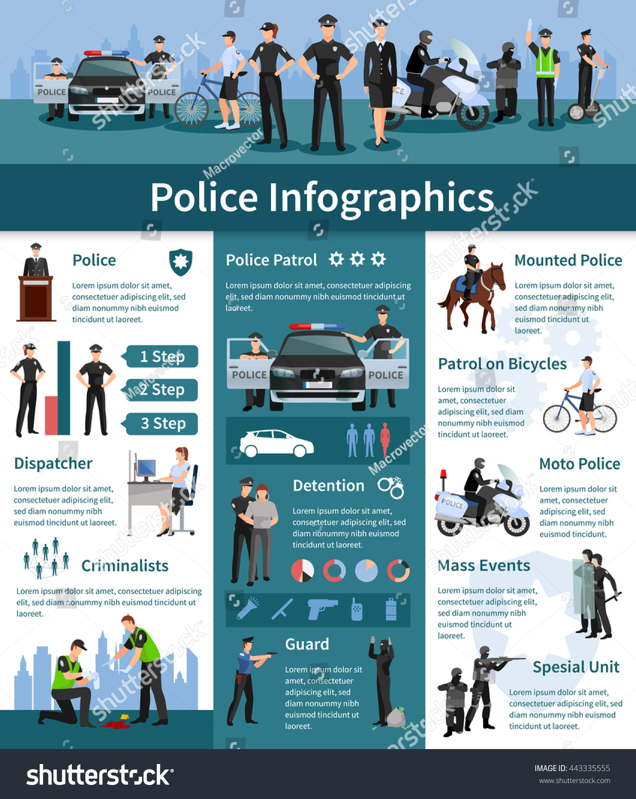 Police People Flat Info Graphics Layout With Mounted Dispatcher Detention Criminalizes Guards Icons And Information