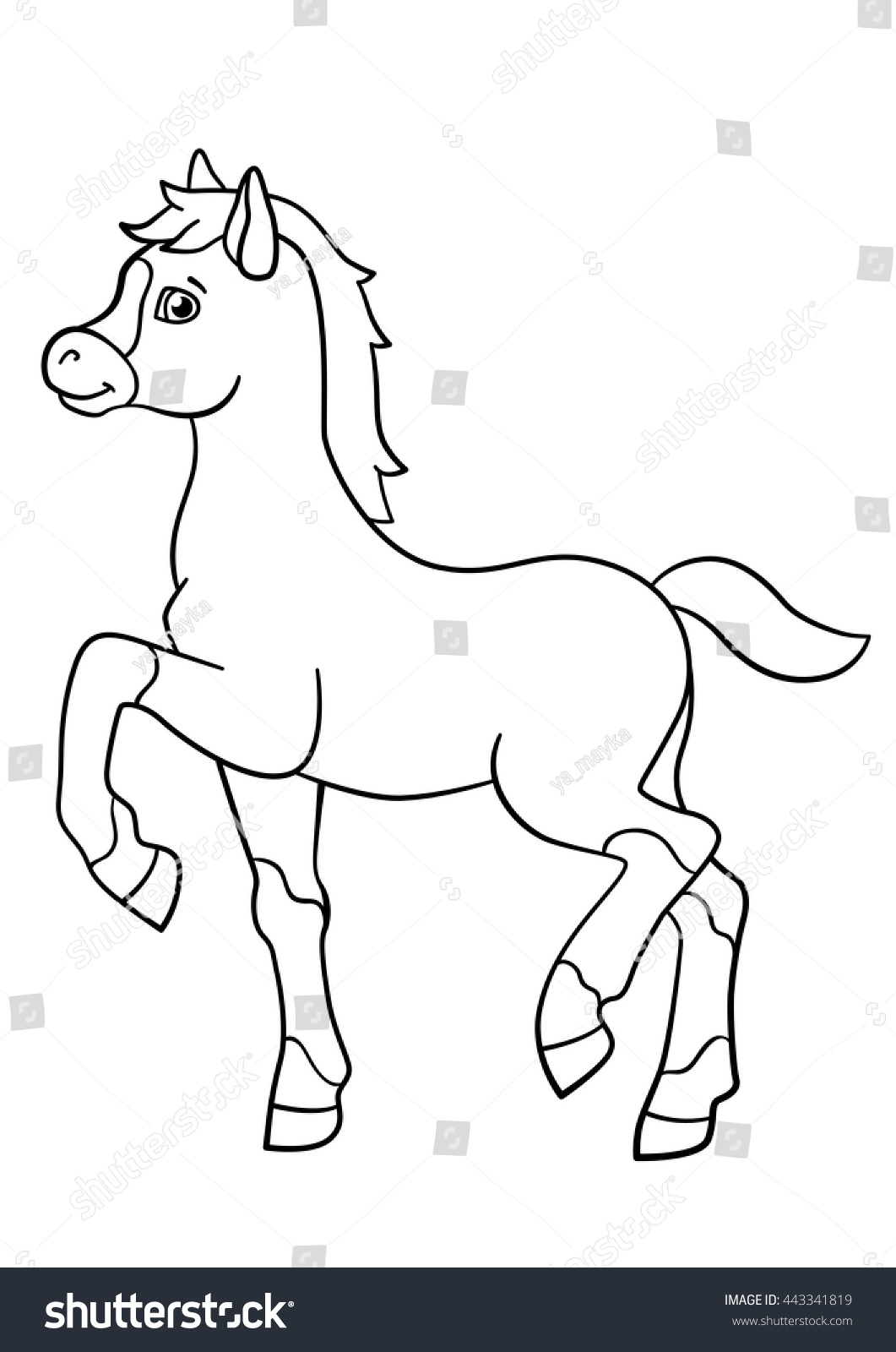 coloring pages farm animals little cute stock vector 443341819