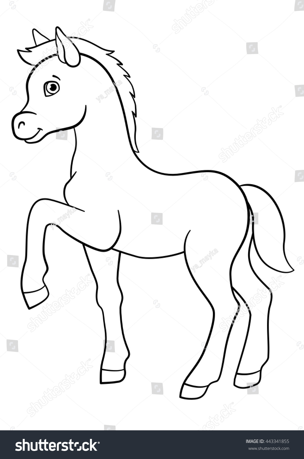 Coloring Pages Farm Animals Little Cute Stock Vector 443341855 ...