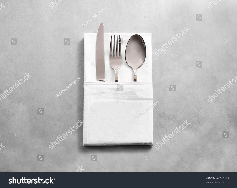 Blank white restaurant cloth napkin mockup stock photo